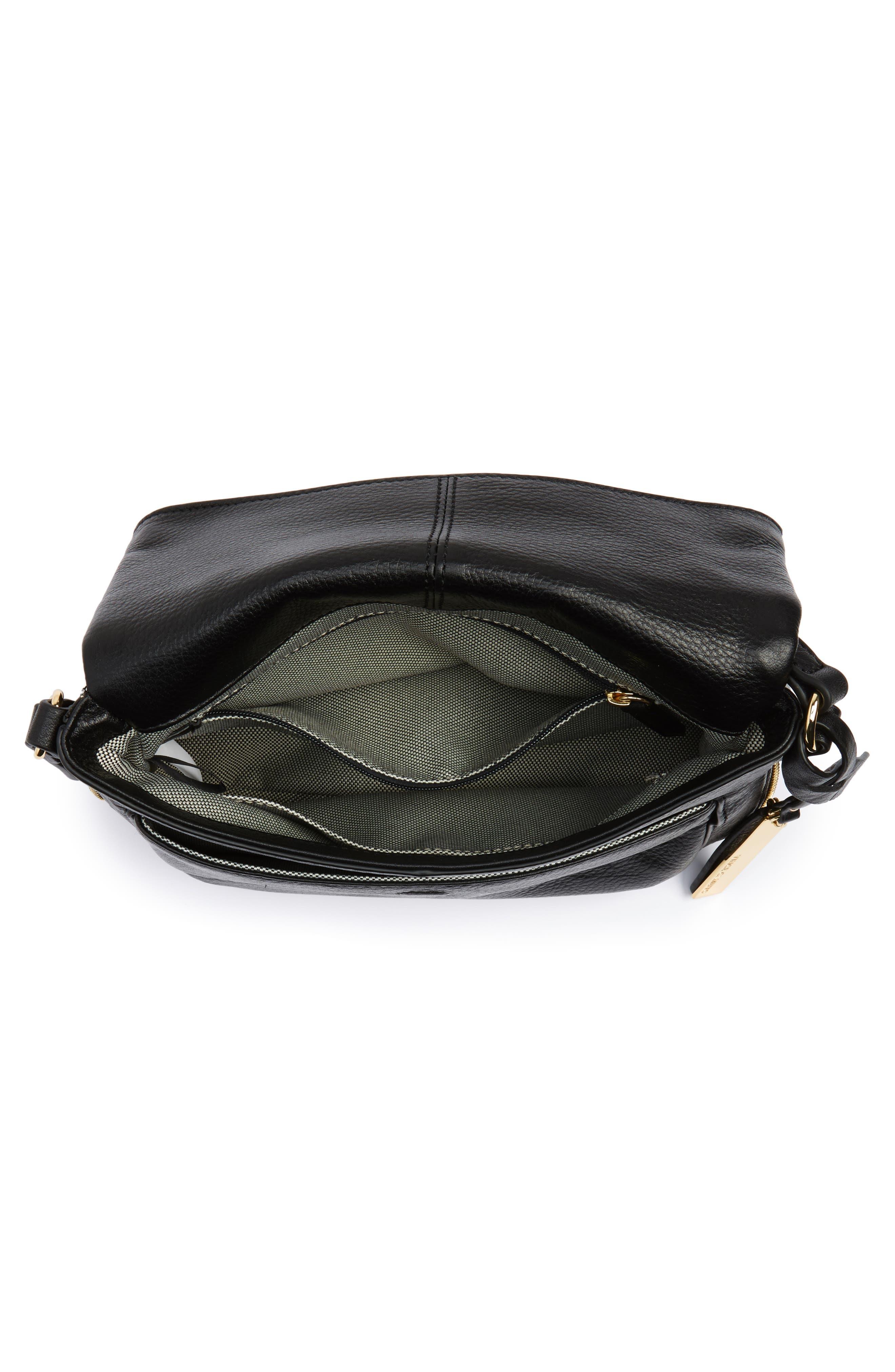 Adina Leather Crossbody Bag,                             Alternate thumbnail 4, color,                             001