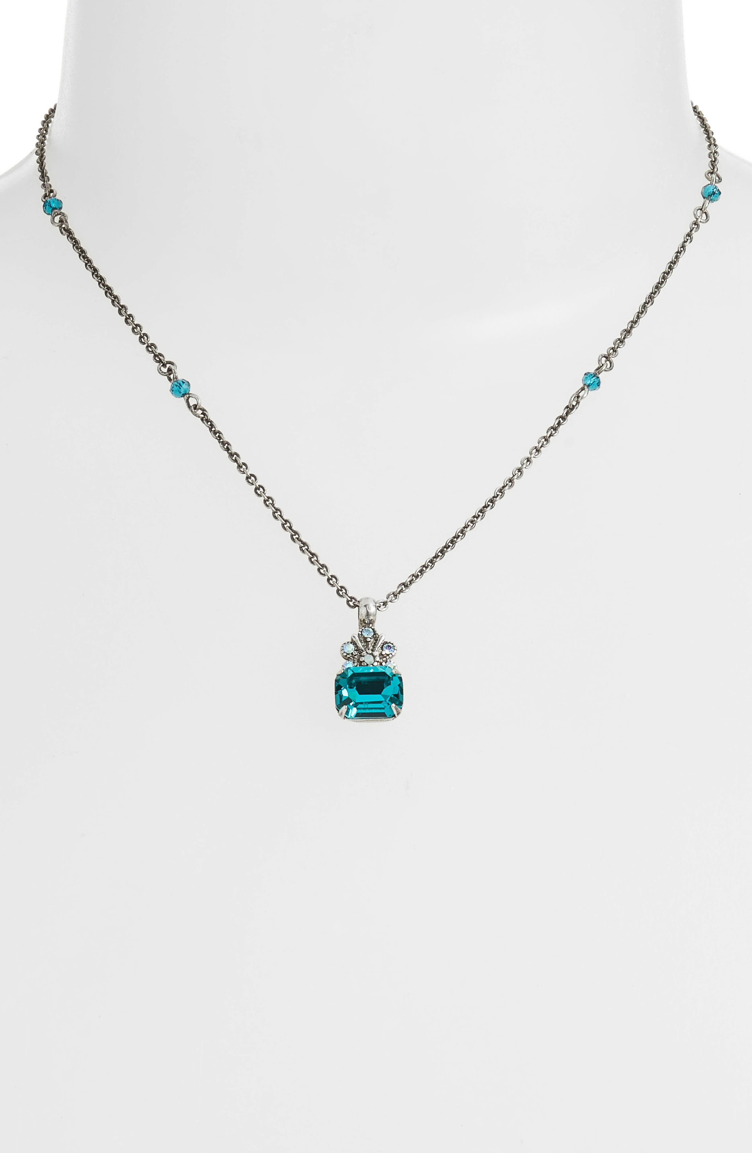 Crowning Glory Crystal Pendant Necklace,                             Alternate thumbnail 2, color,                             BLUE-GREEN