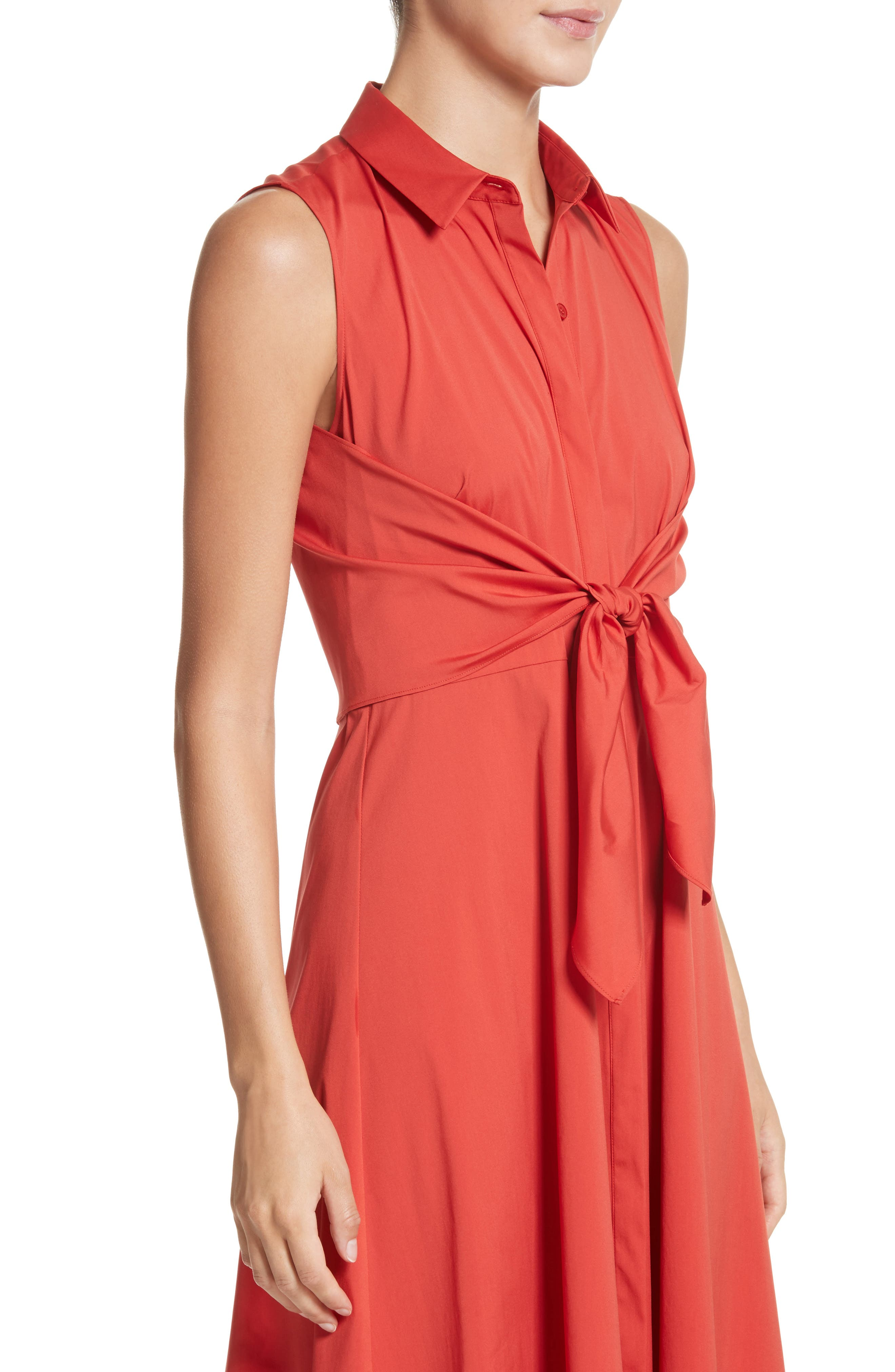 Mariel Knotted Shirtdress,                             Alternate thumbnail 4, color,