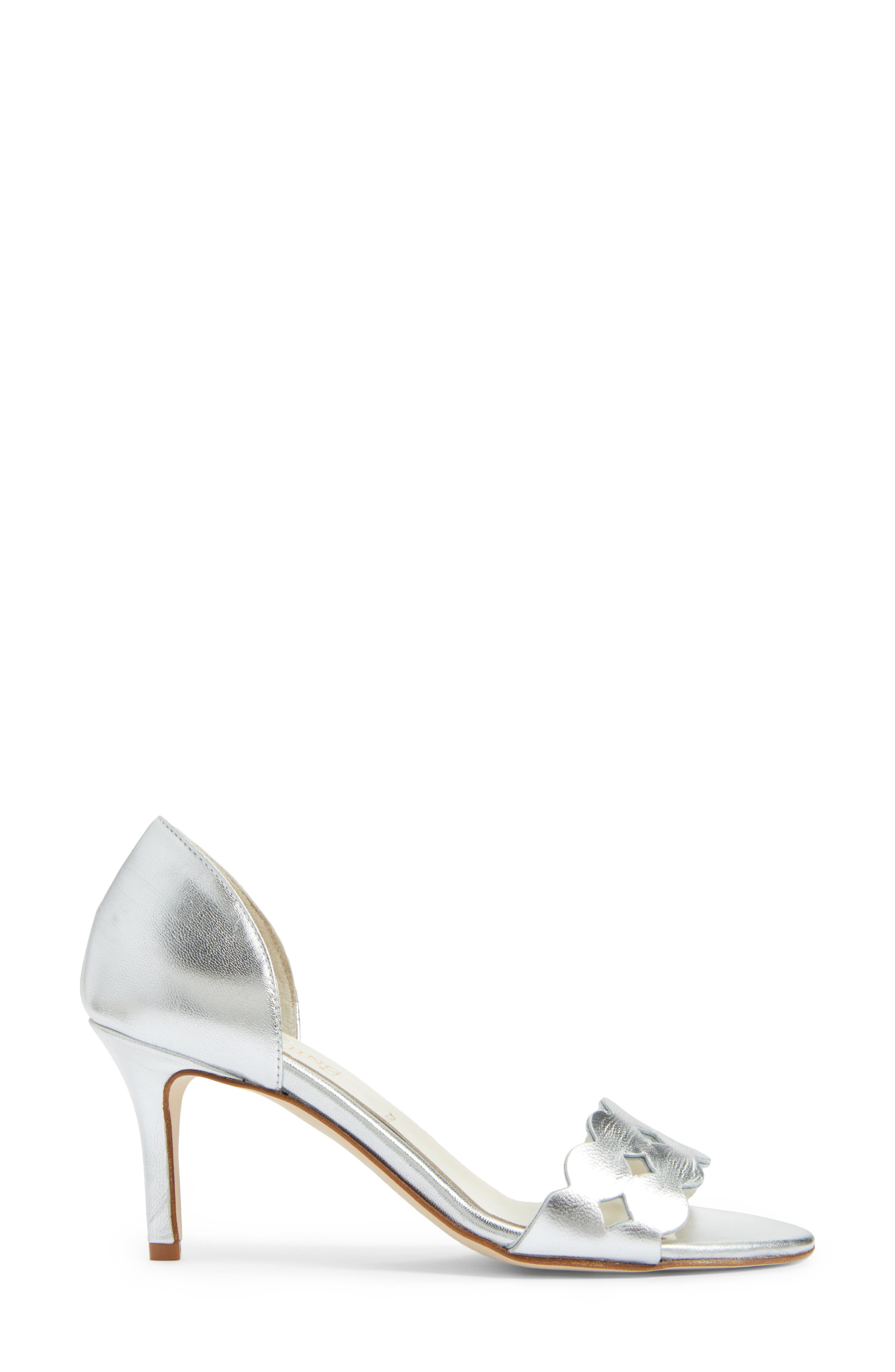 Catherine Cutout Sandal,                             Alternate thumbnail 3, color,                             SILVER METALLIC NAPPA