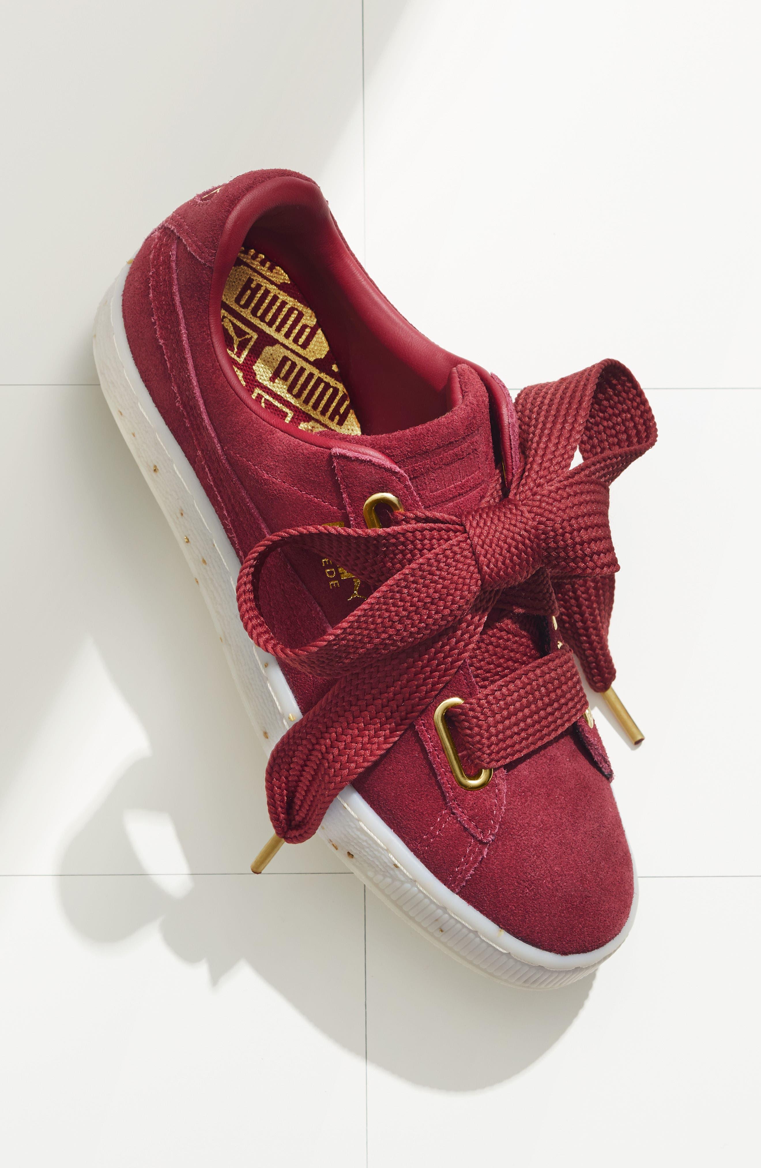 Suede - Heart Sneaker,                             Alternate thumbnail 7, color,                             002