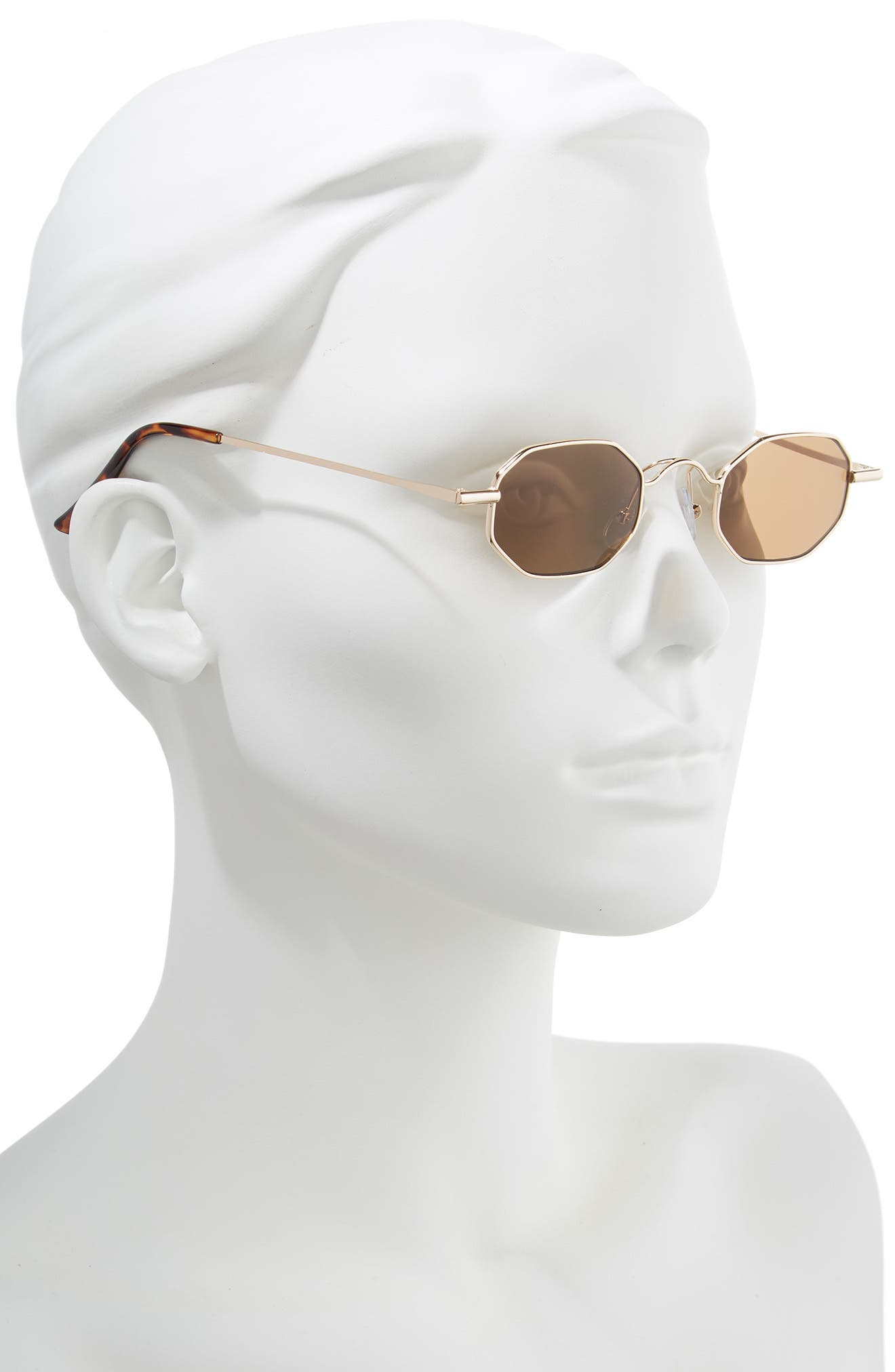 40mm Mini Hexagon Sunglasses,                             Alternate thumbnail 2, color,                             BROWN GOLD