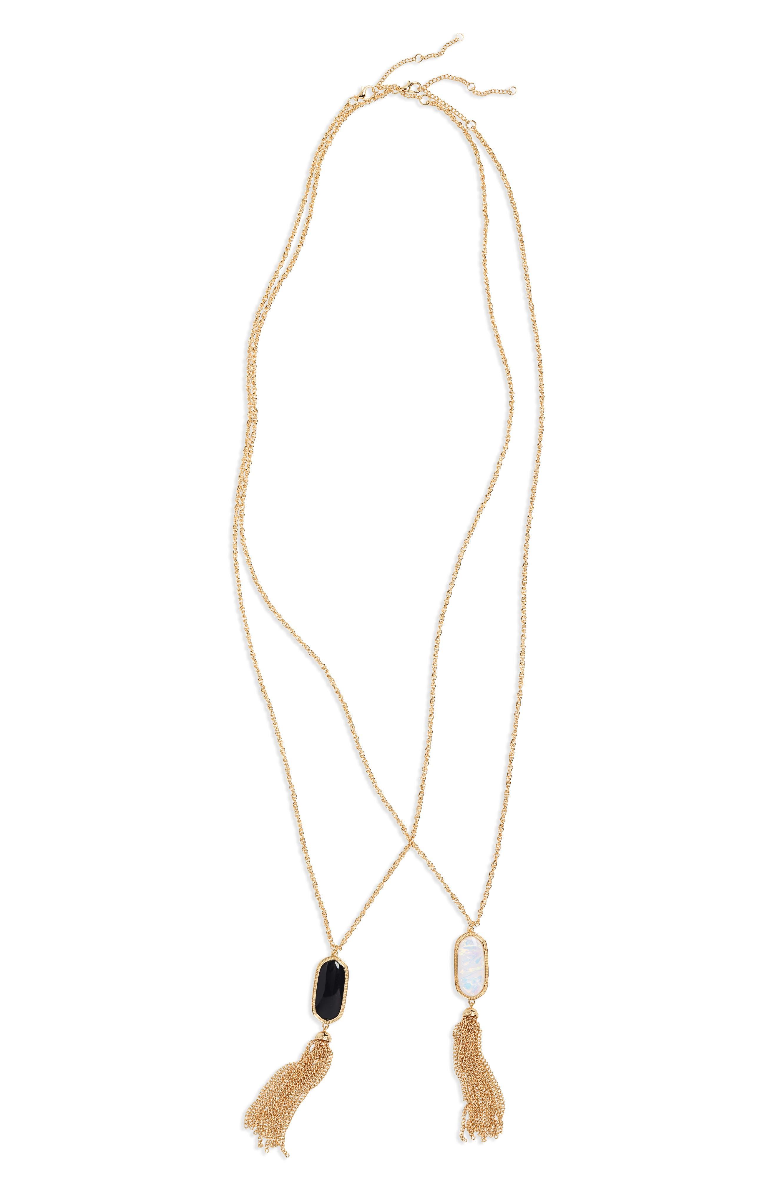 2-Pack Stone Tassel Pendant Necklaces,                             Main thumbnail 1, color,                             710