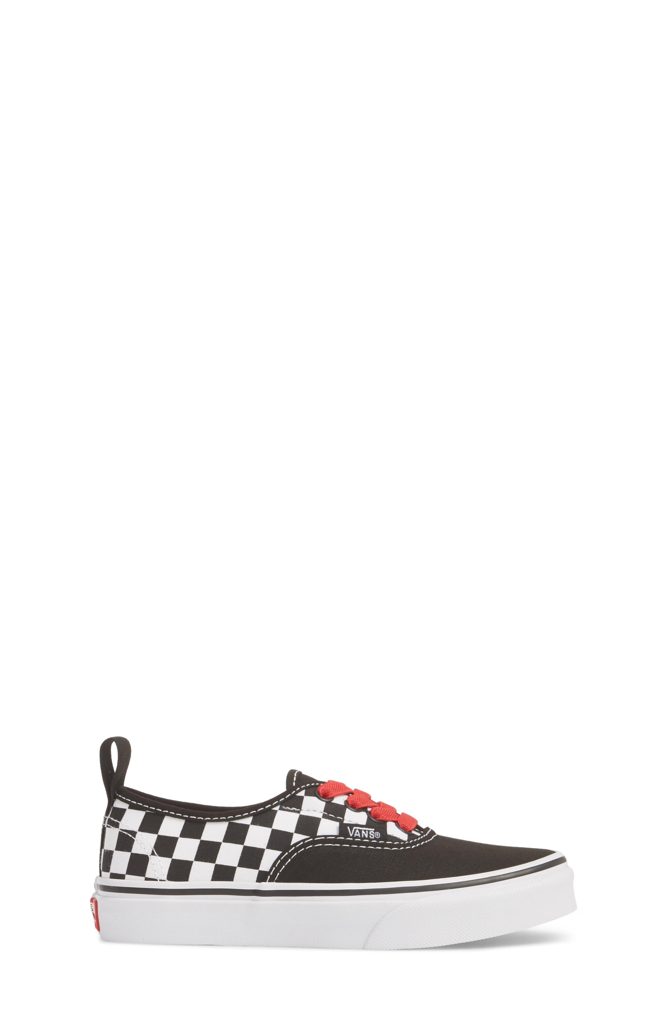 Authentic Elastic Lace Sneaker,                             Alternate thumbnail 3, color,                             CHECKERBOARD BLACK/ RED/ WHITE
