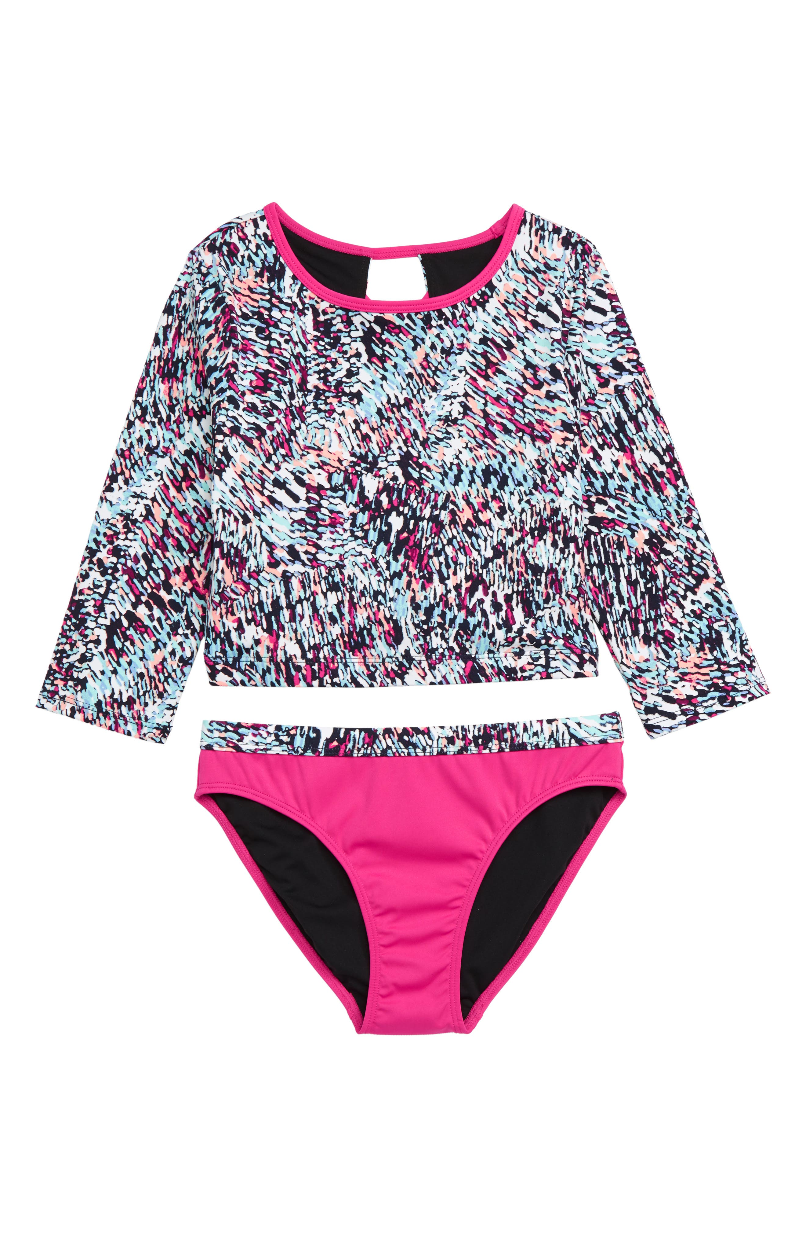 Scoop Two-Piece Rashguard Swimsuit,                             Main thumbnail 1, color,                             WHITE MULTI CONFETTI SPRINKLES