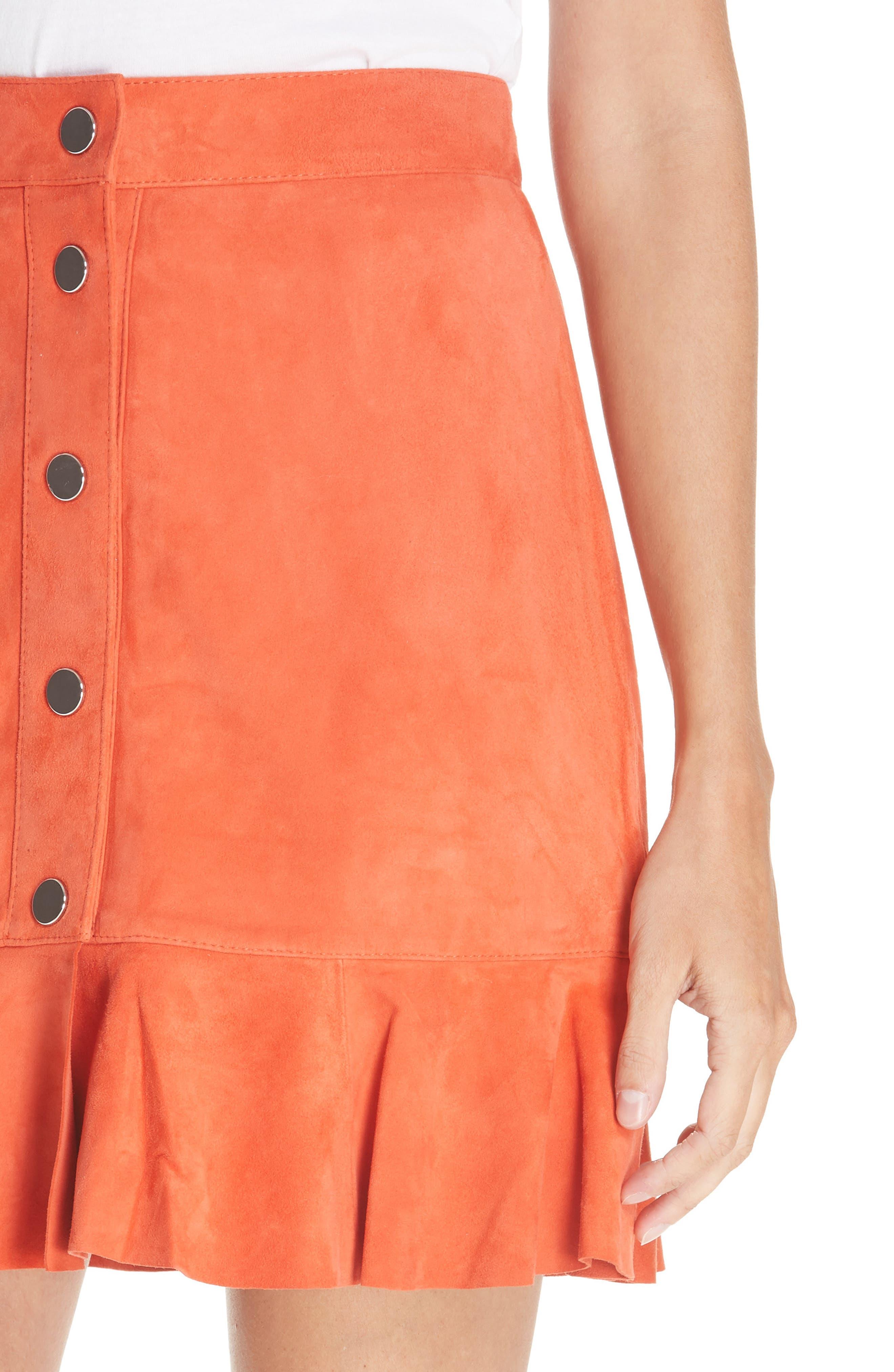 GANNI,                             Salvia Suede Skirt,                             Alternate thumbnail 4, color,                             800