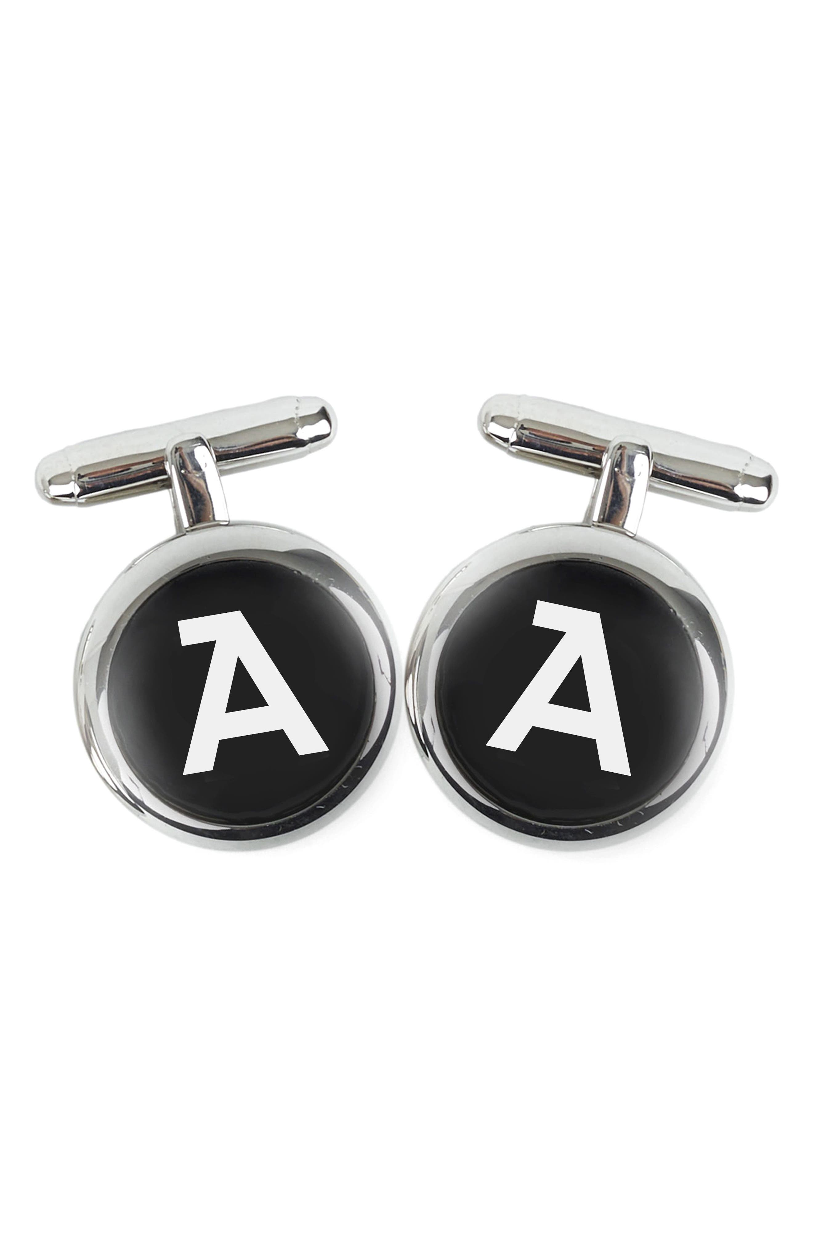 Brooklyn Silver Monogram Cuff Links,                         Main,                         color, A
