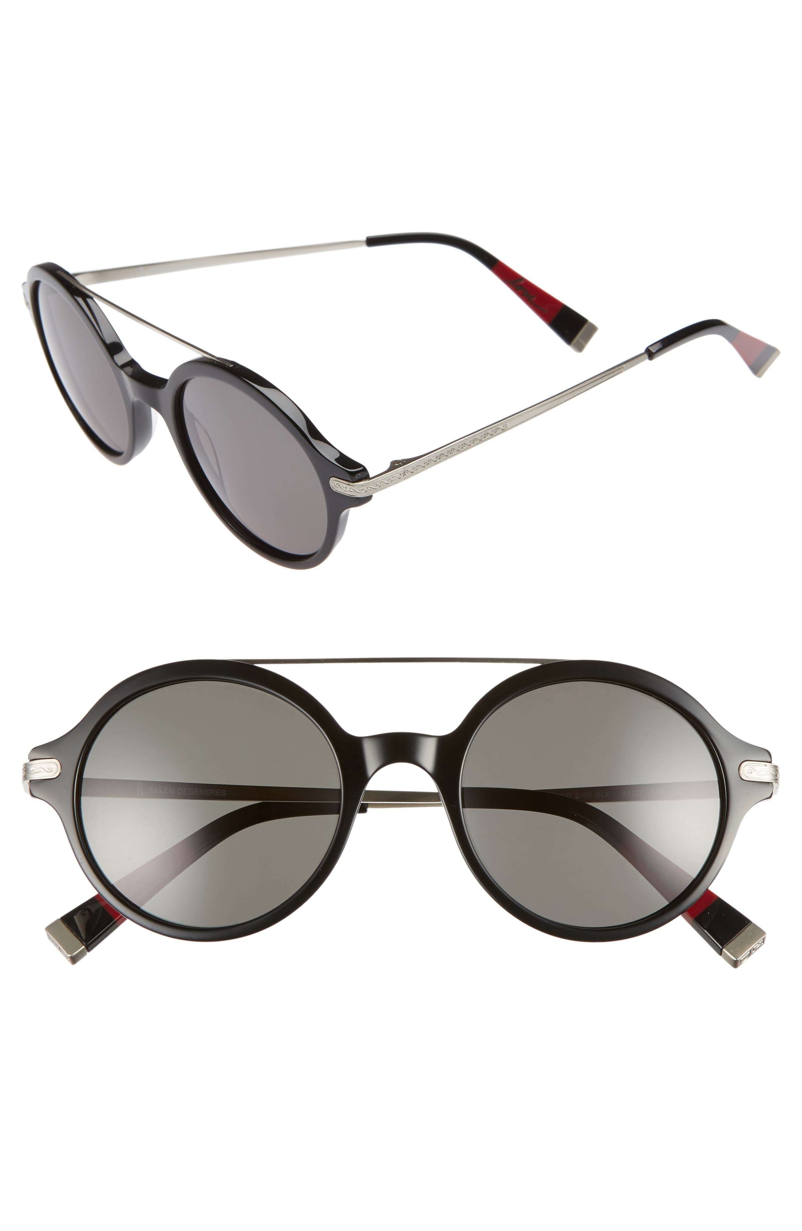 49mm Round Sunglasses,                         Main,                         color, BLACK