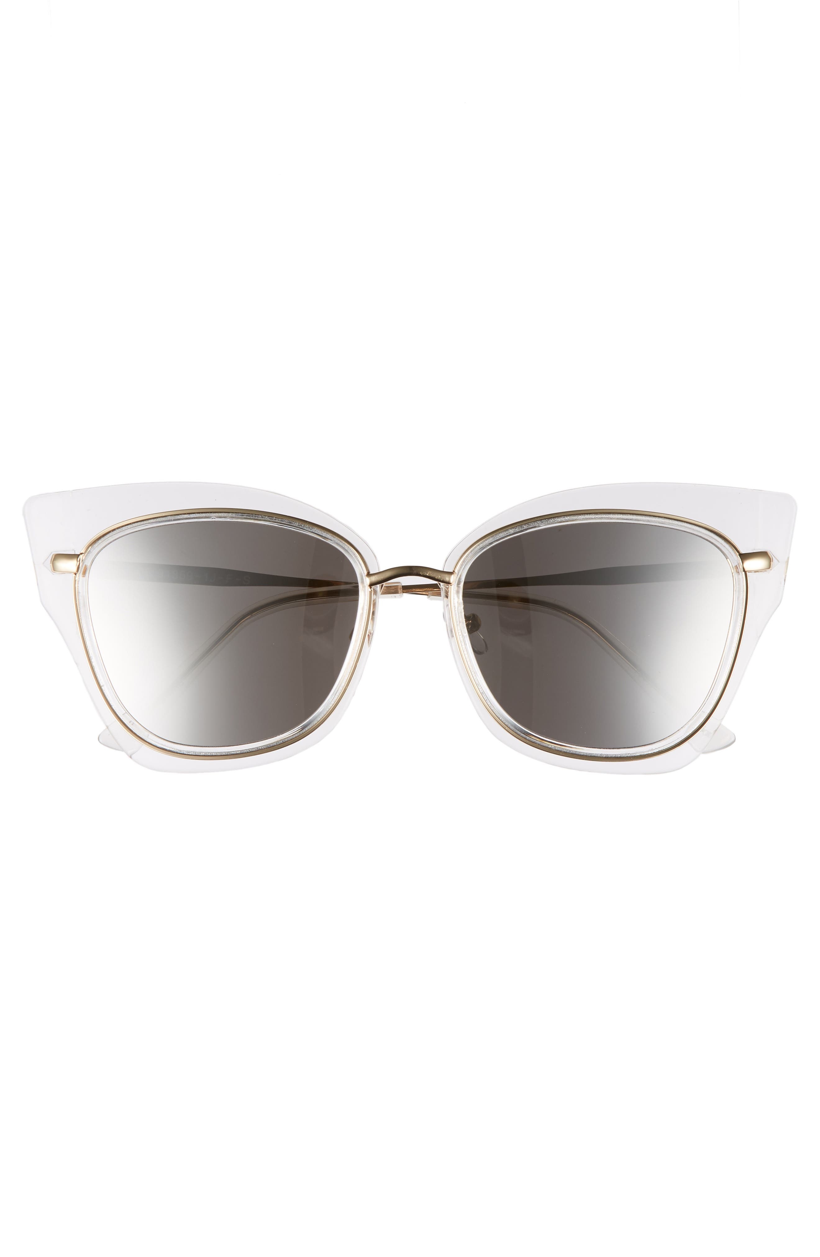 55mm Clear Winged Cat Eye Sunglasses,                             Alternate thumbnail 3, color,                             CLEAR/ GOLD