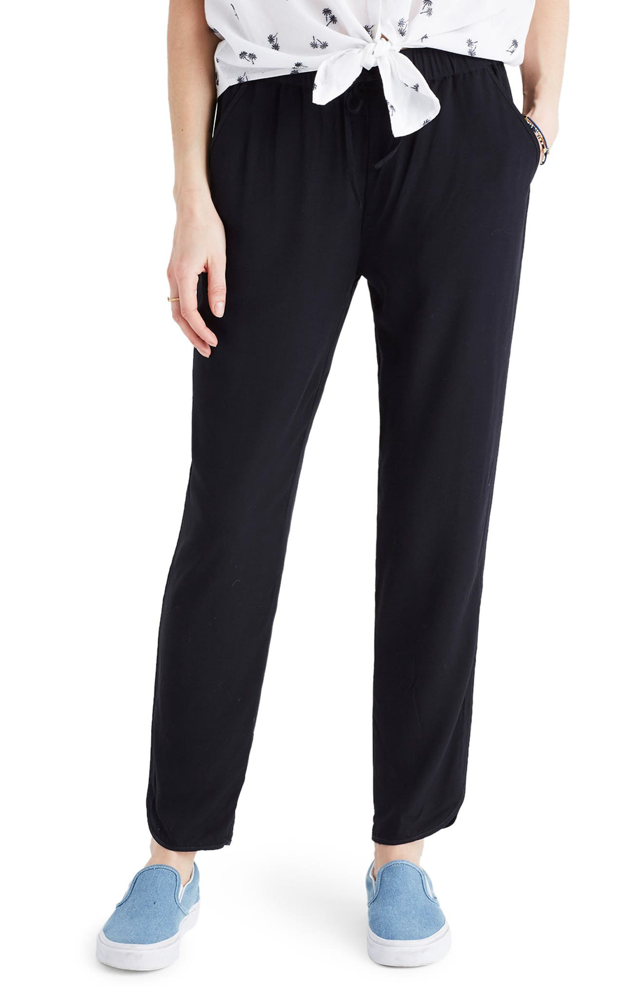 MADEWELL,                             Track Trousers,                             Main thumbnail 1, color,                             TRUE BLACK