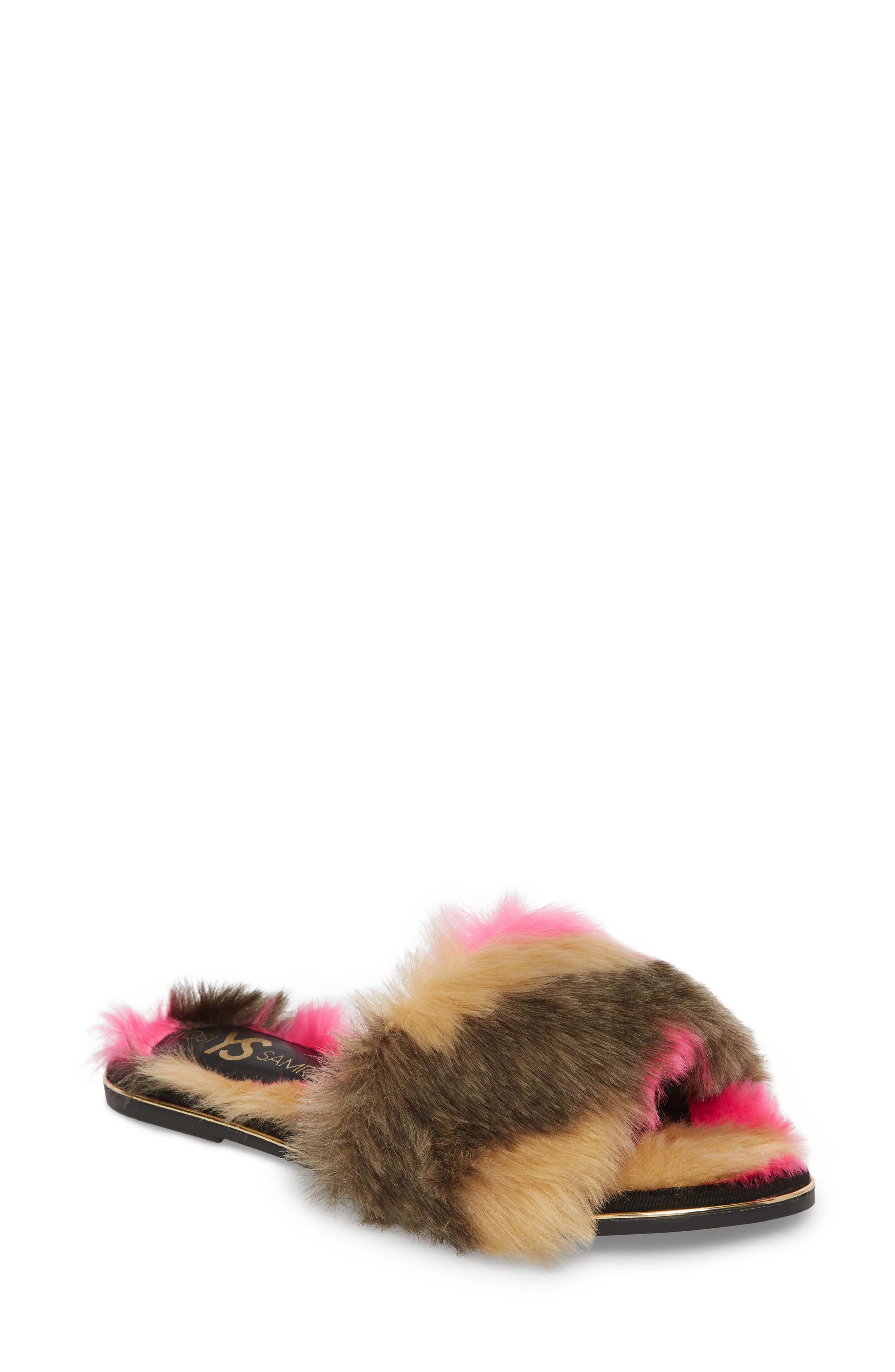 YOSI SAMRA Rose Faux Fur Slide Sandal, Main, color, 030