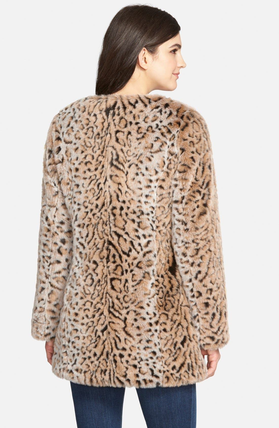 Faux Fur Leopard Print Coat,                             Alternate thumbnail 2, color,                             200