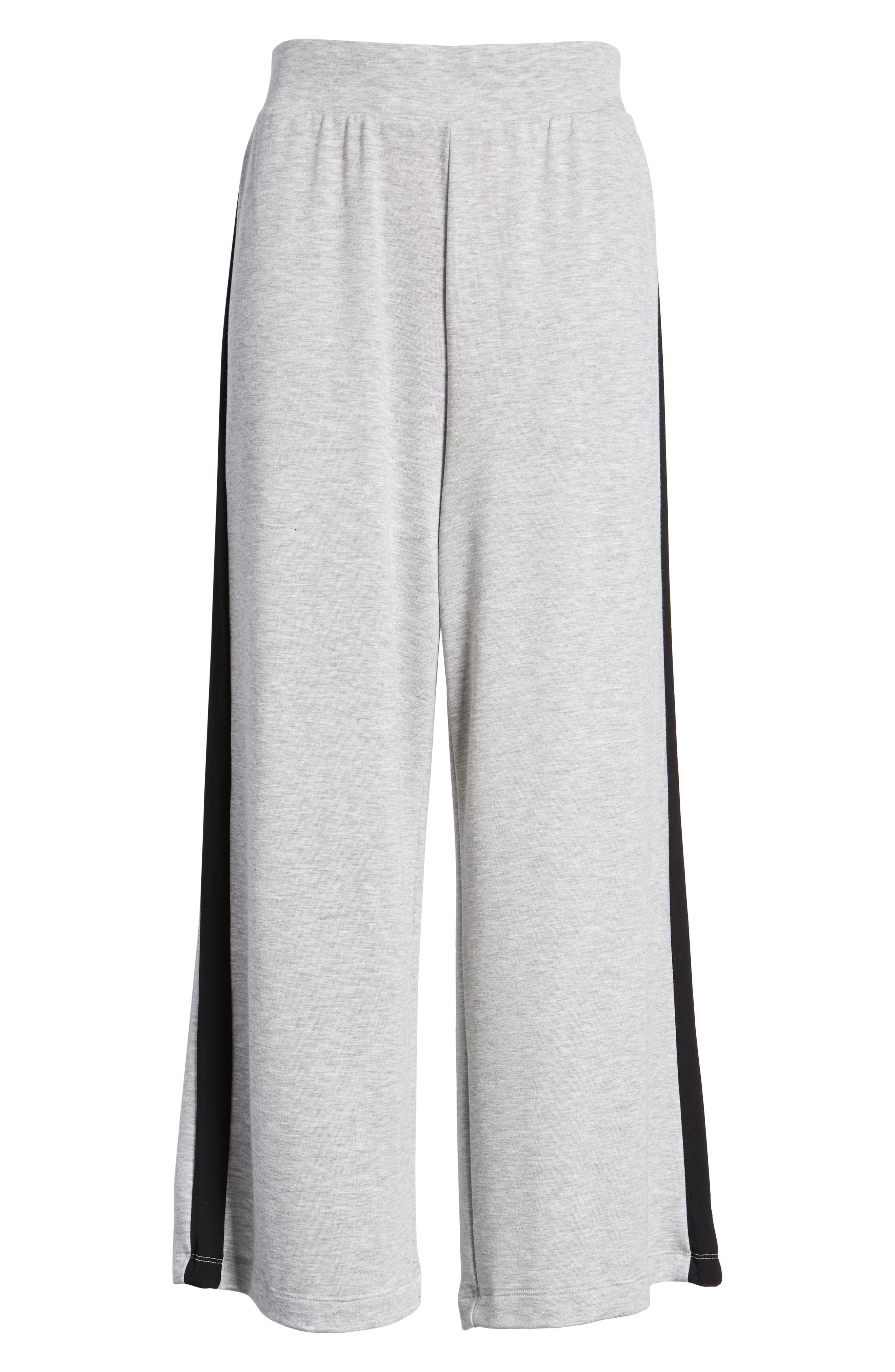 Sporty Wide Leg Crop Pants,                             Alternate thumbnail 6, color,                             GREY PEARL HEATHER