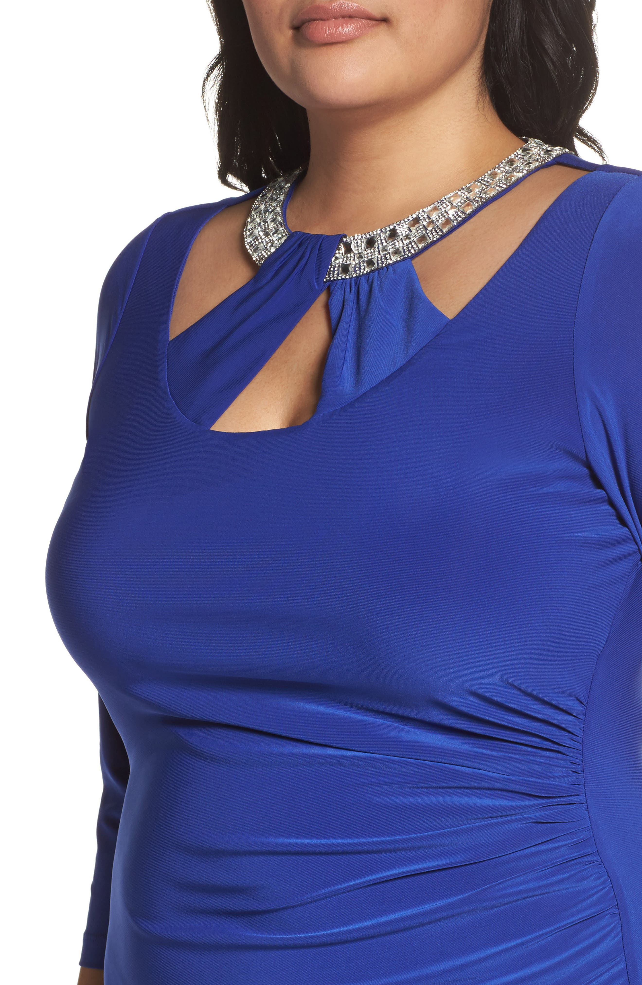 Embellished Neck Matte Jersey Gown,                             Alternate thumbnail 8, color,