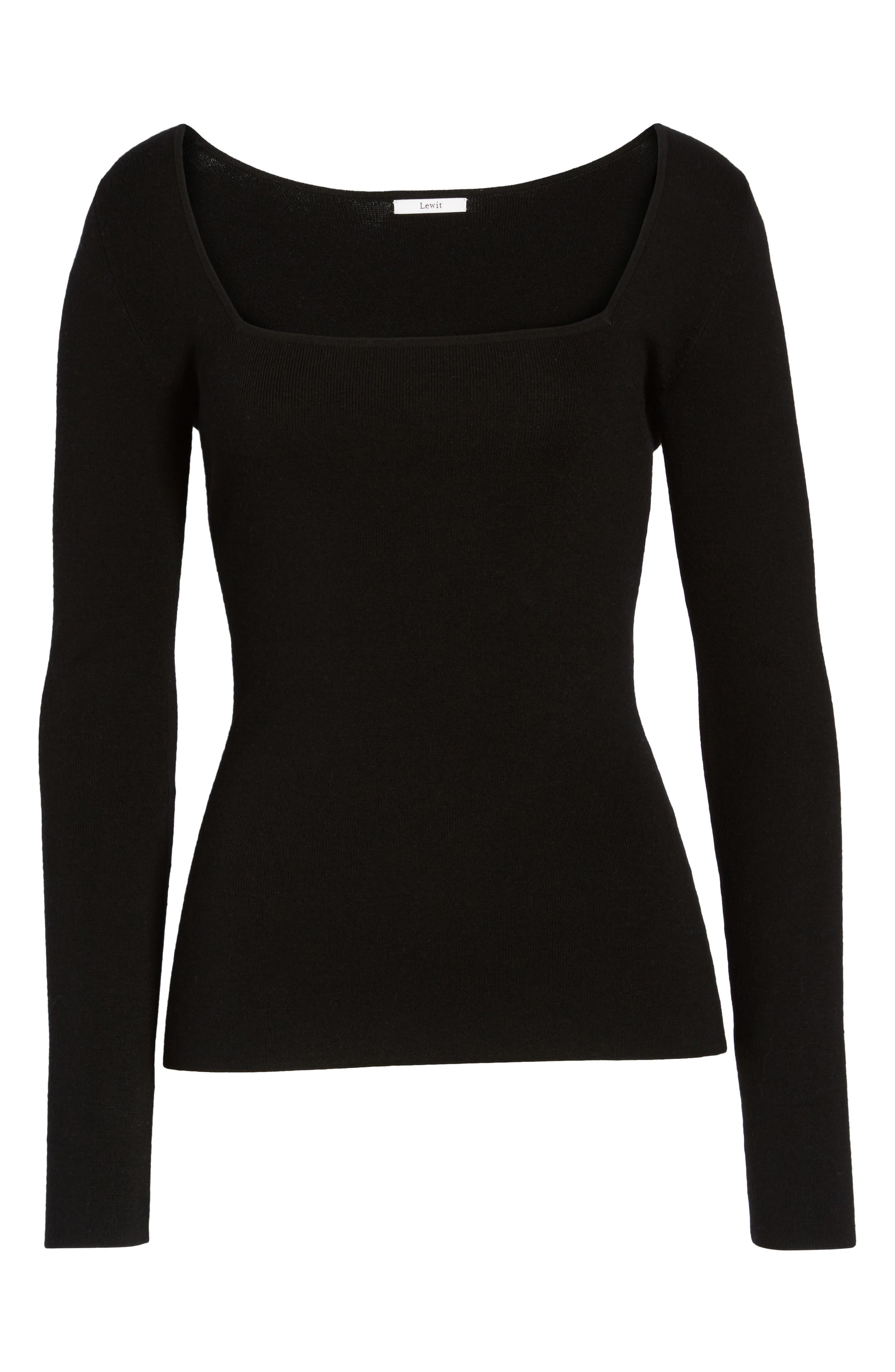 Square Neck Merino Wool Blend Sweater,                             Alternate thumbnail 6, color,                             001