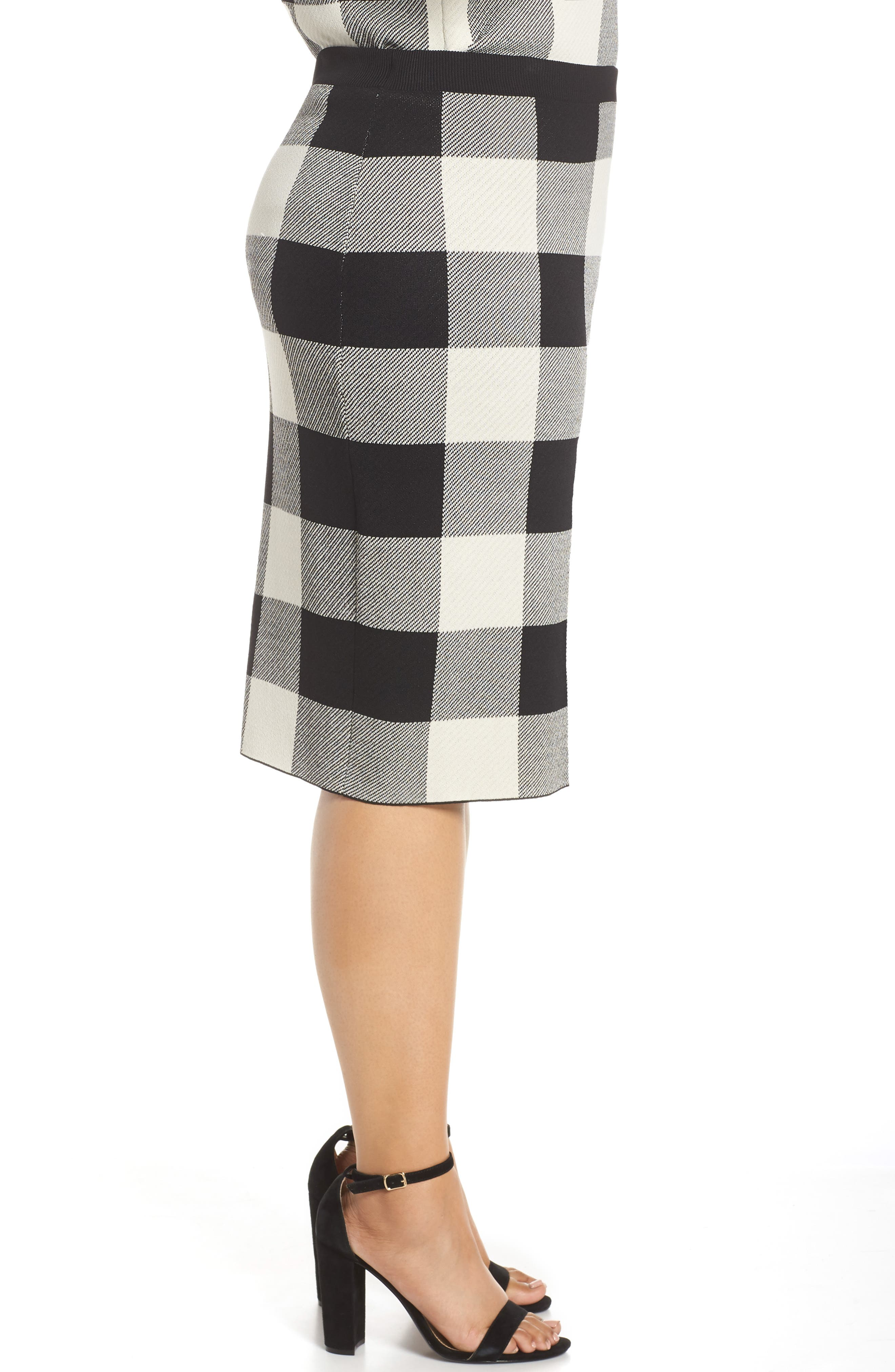 RACHEL RACHEL ROY,                             Raj Sweater Skirt,                             Alternate thumbnail 3, color,                             BLACK/CREAM