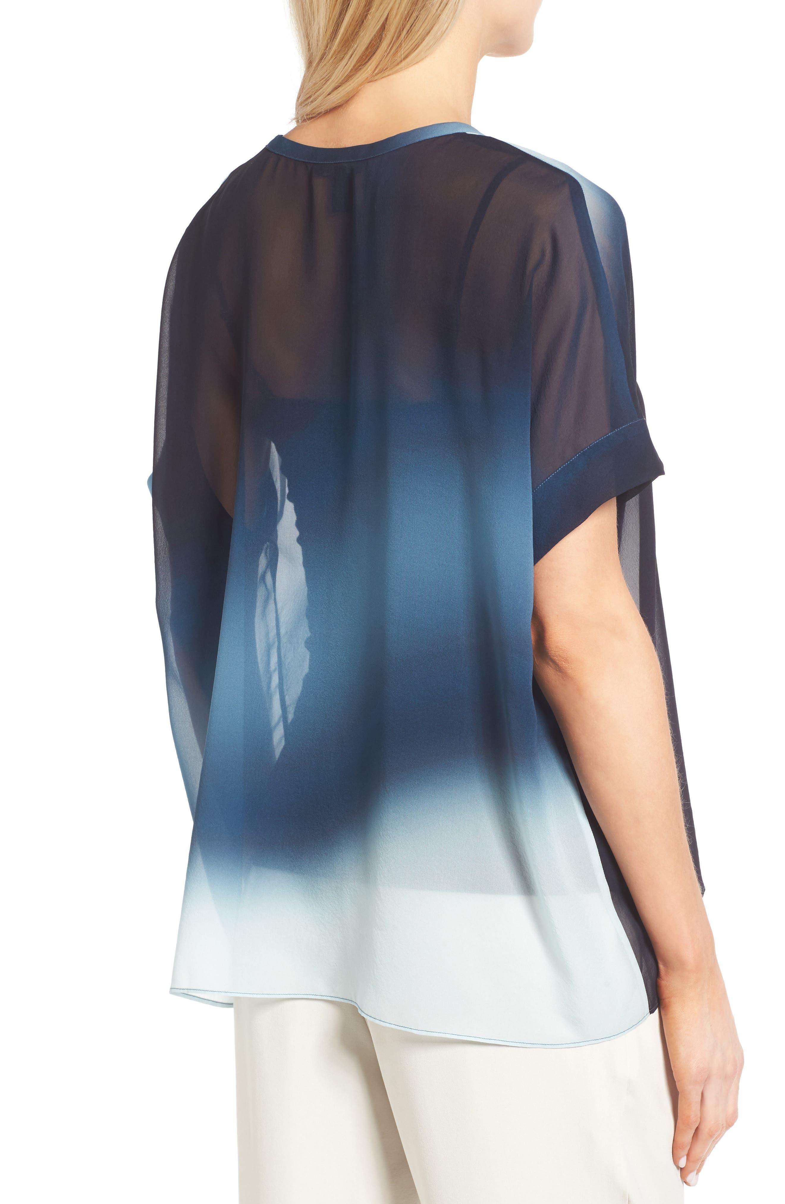 Ombré Silk Short Sleeve Top,                             Alternate thumbnail 5, color,