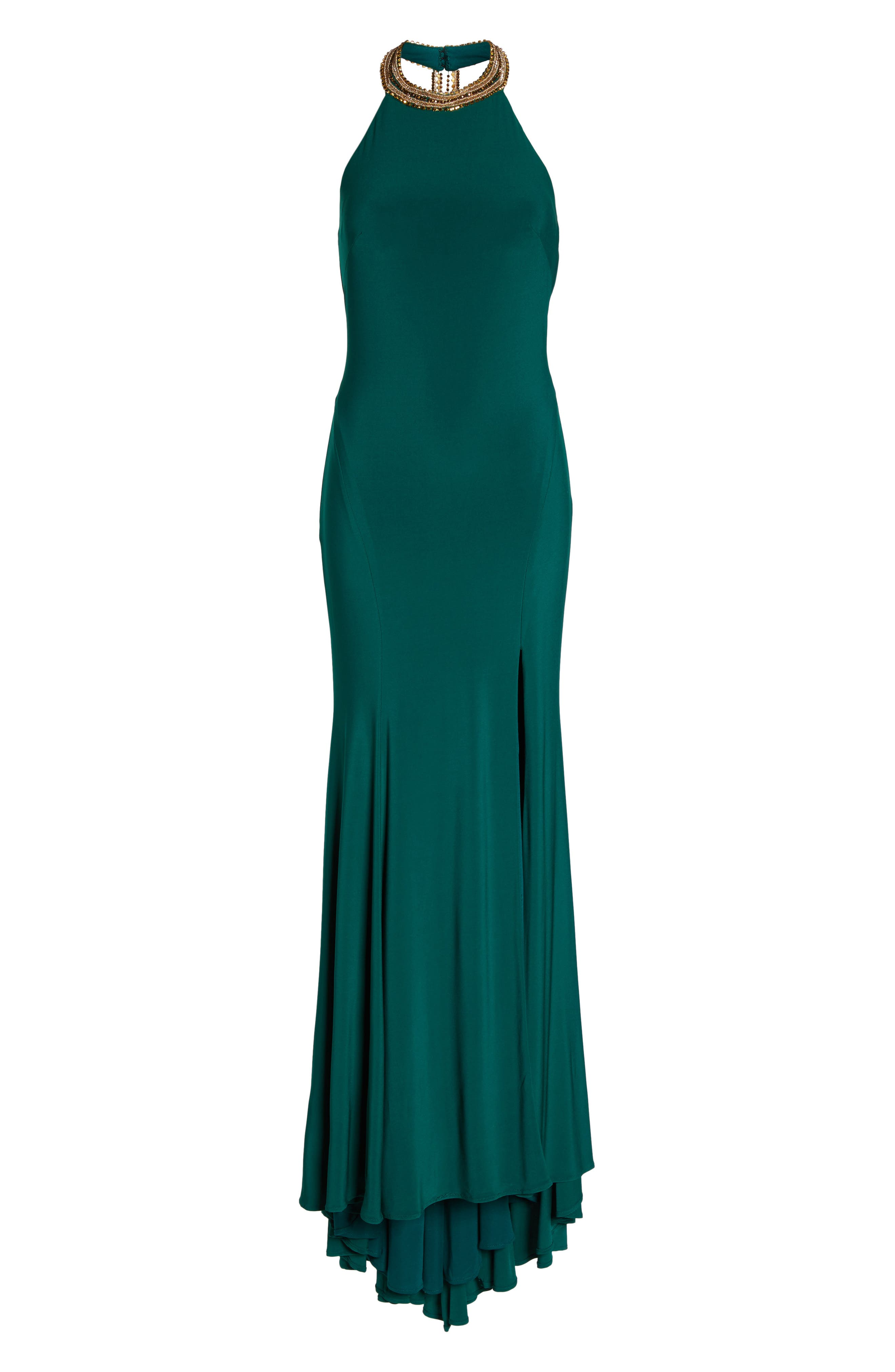 Beaded Halter Neck Gown,                             Alternate thumbnail 6, color,                             EMERALD