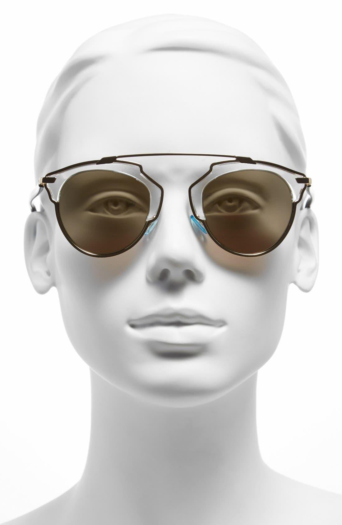 So Real 48mm Brow Bar Sunglasses,                             Alternate thumbnail 48, color,