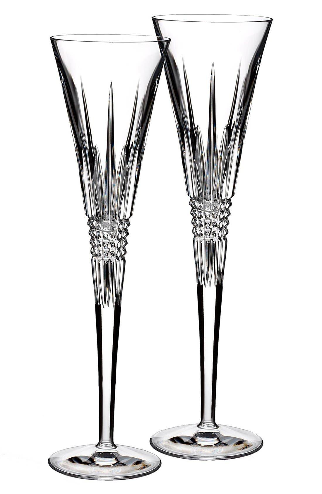 'Lismore Diamond' Lead Crystal Champagne Flutes,                         Main,                         color, 100