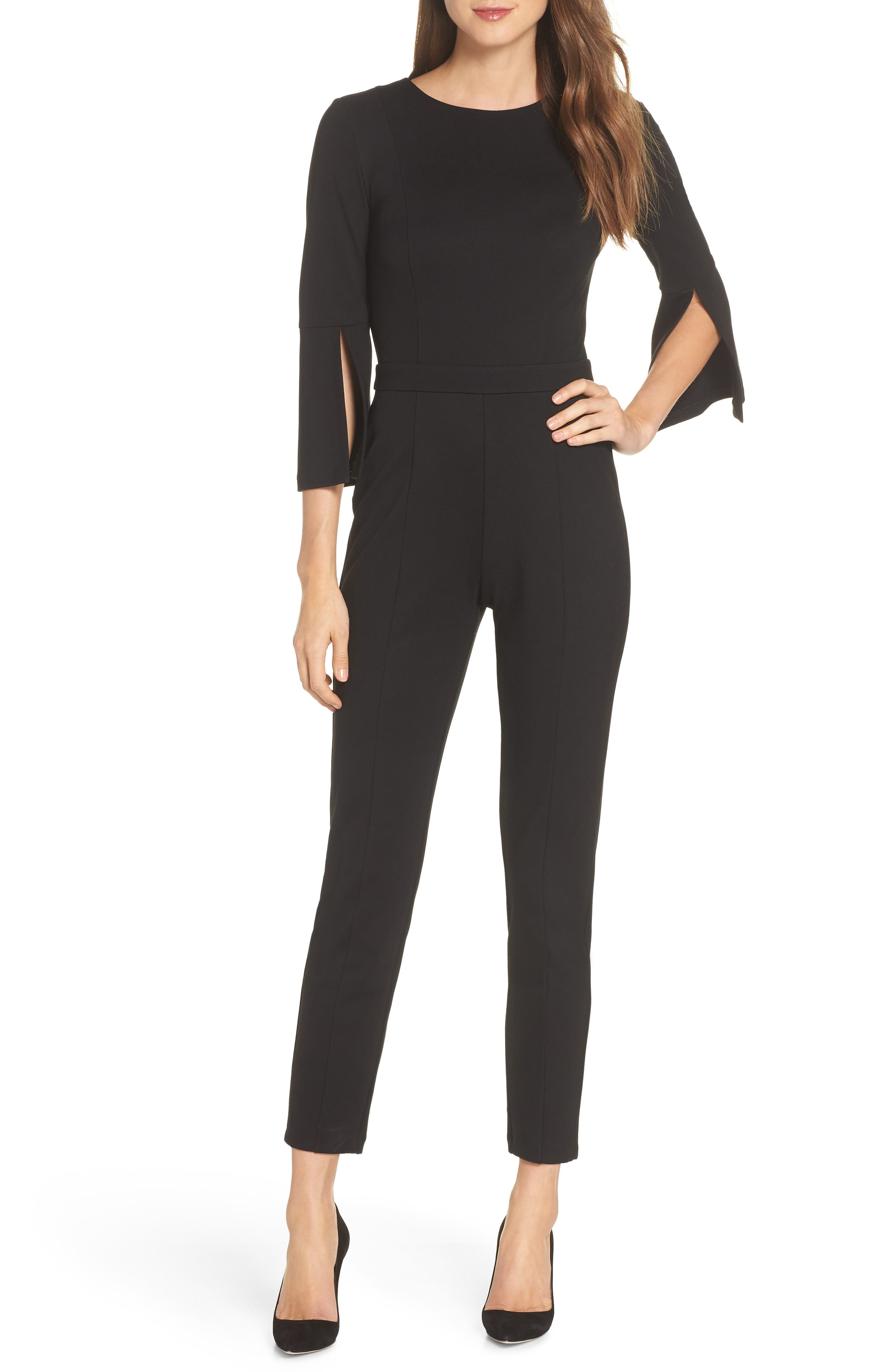 Slit Sleeve Slim Leg Jumpsuit, Main, color, BLACK