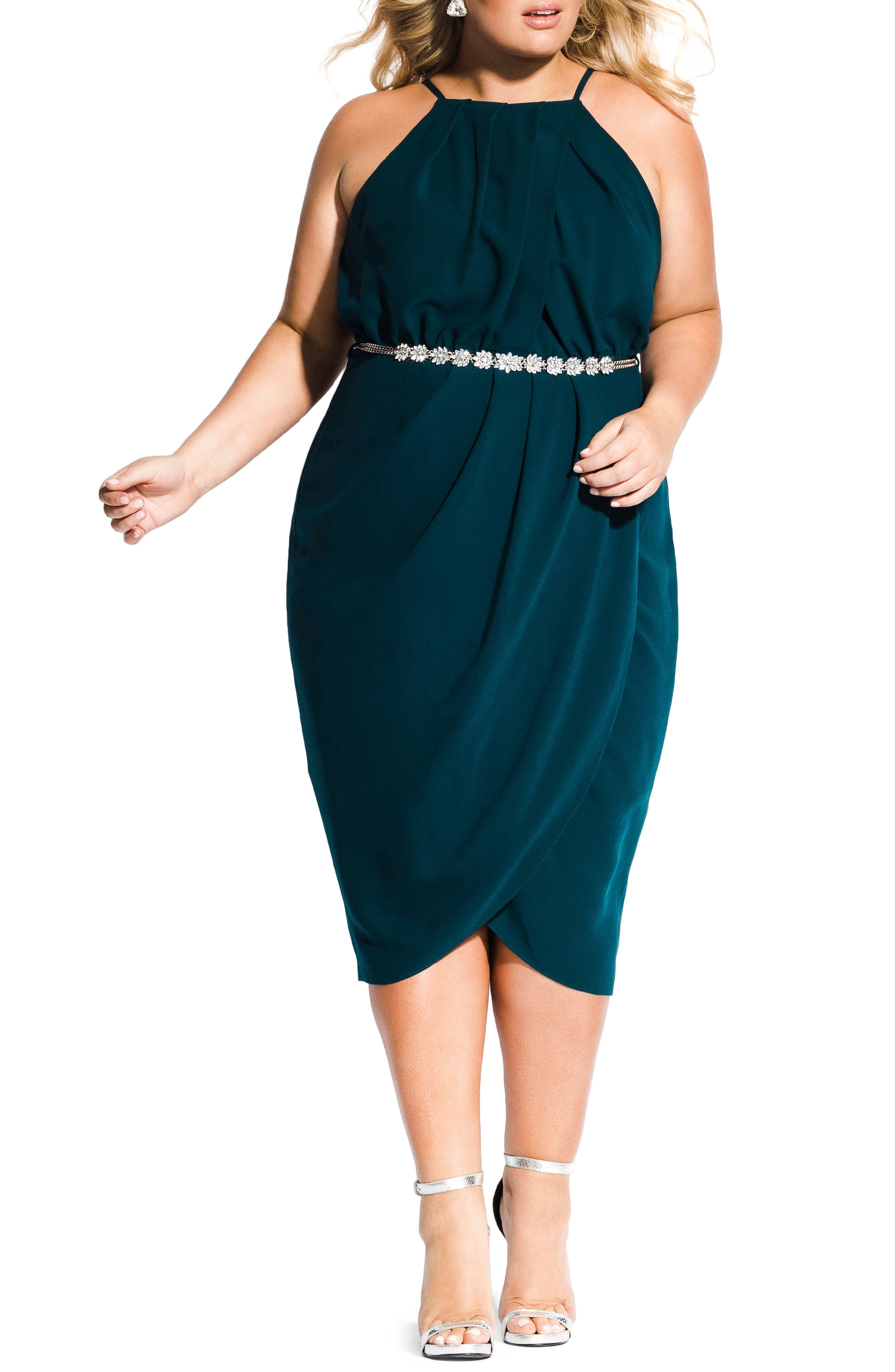CITY CHIC In Love Faux Wrap Dress, Main, color, EMERALD