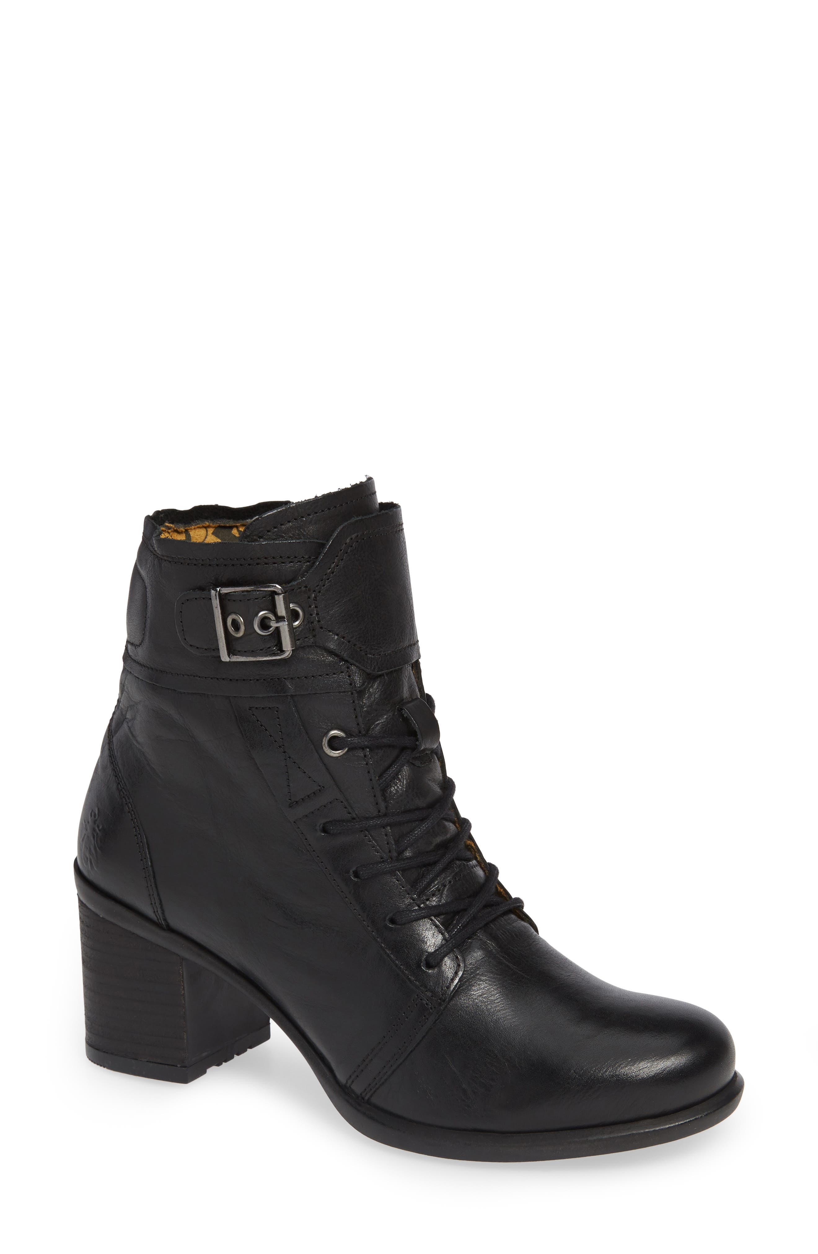 FLY LONDON,                             Iemi Buckle Strap Bootie,                             Main thumbnail 1, color,                             001