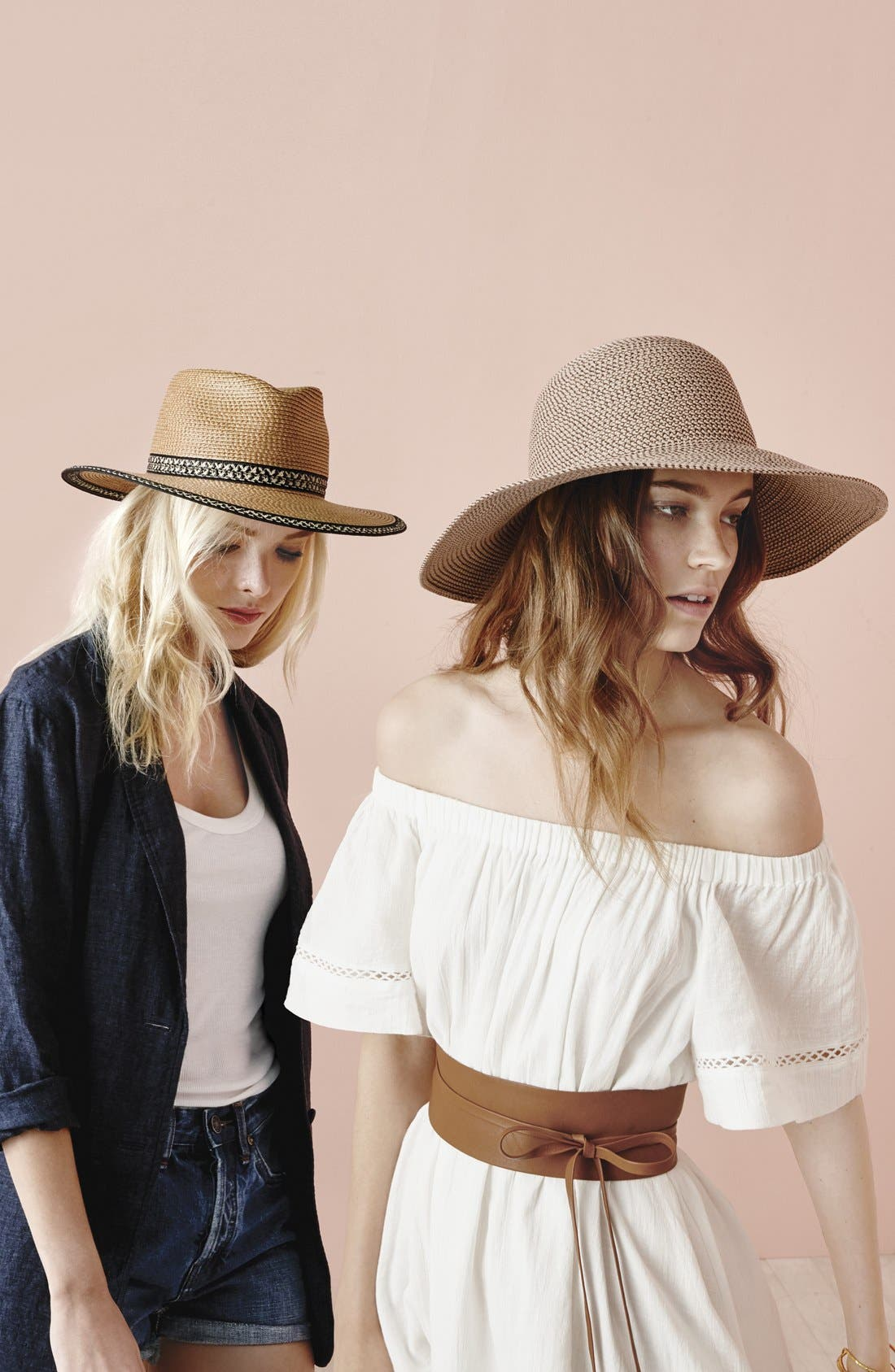 'Hampton' Straw Sun Hat,                             Alternate thumbnail 4, color,                             BLUSH