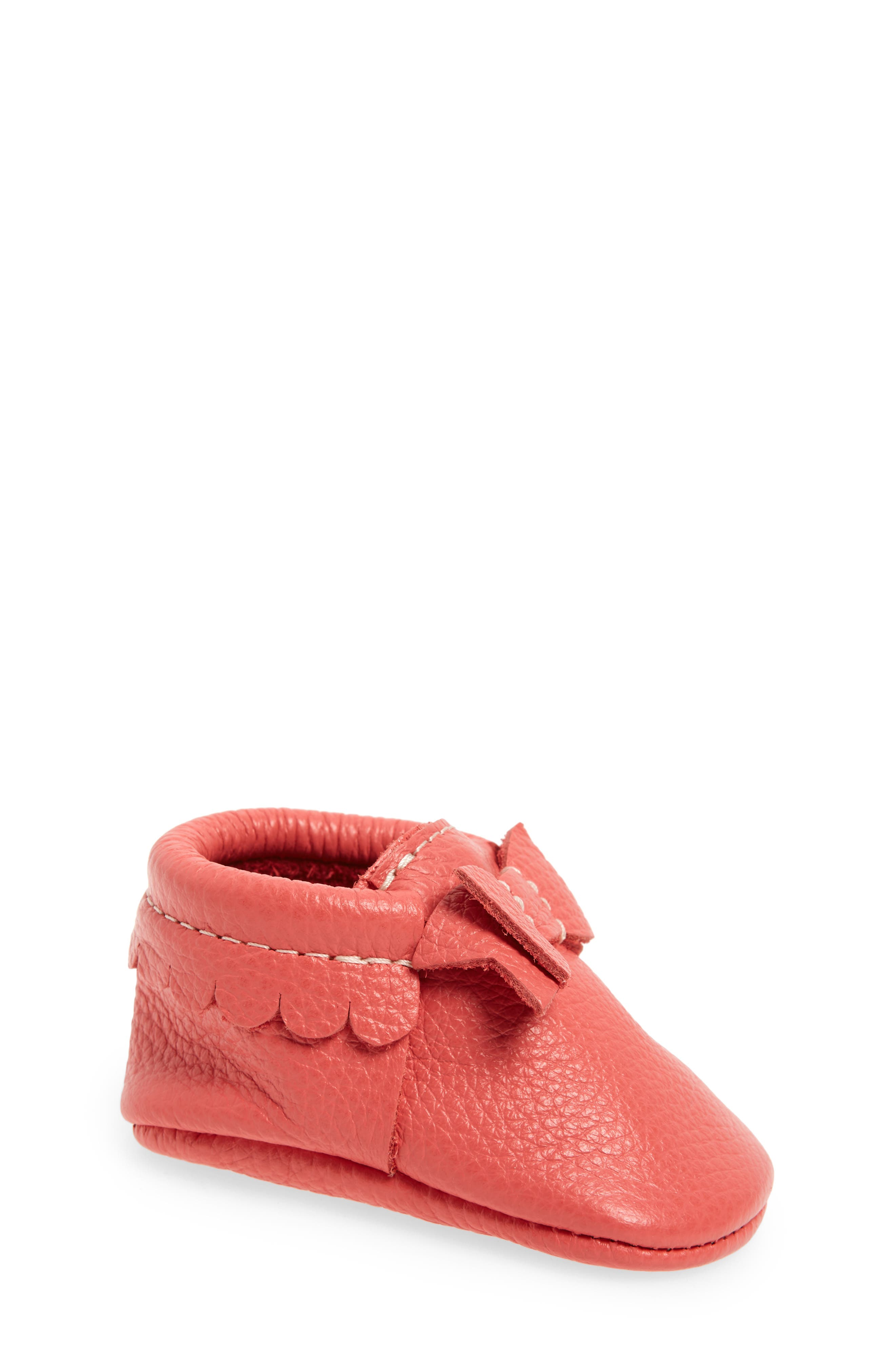 Metallic Bow Moccasin,                             Main thumbnail 1, color,                             PINK LEATHER