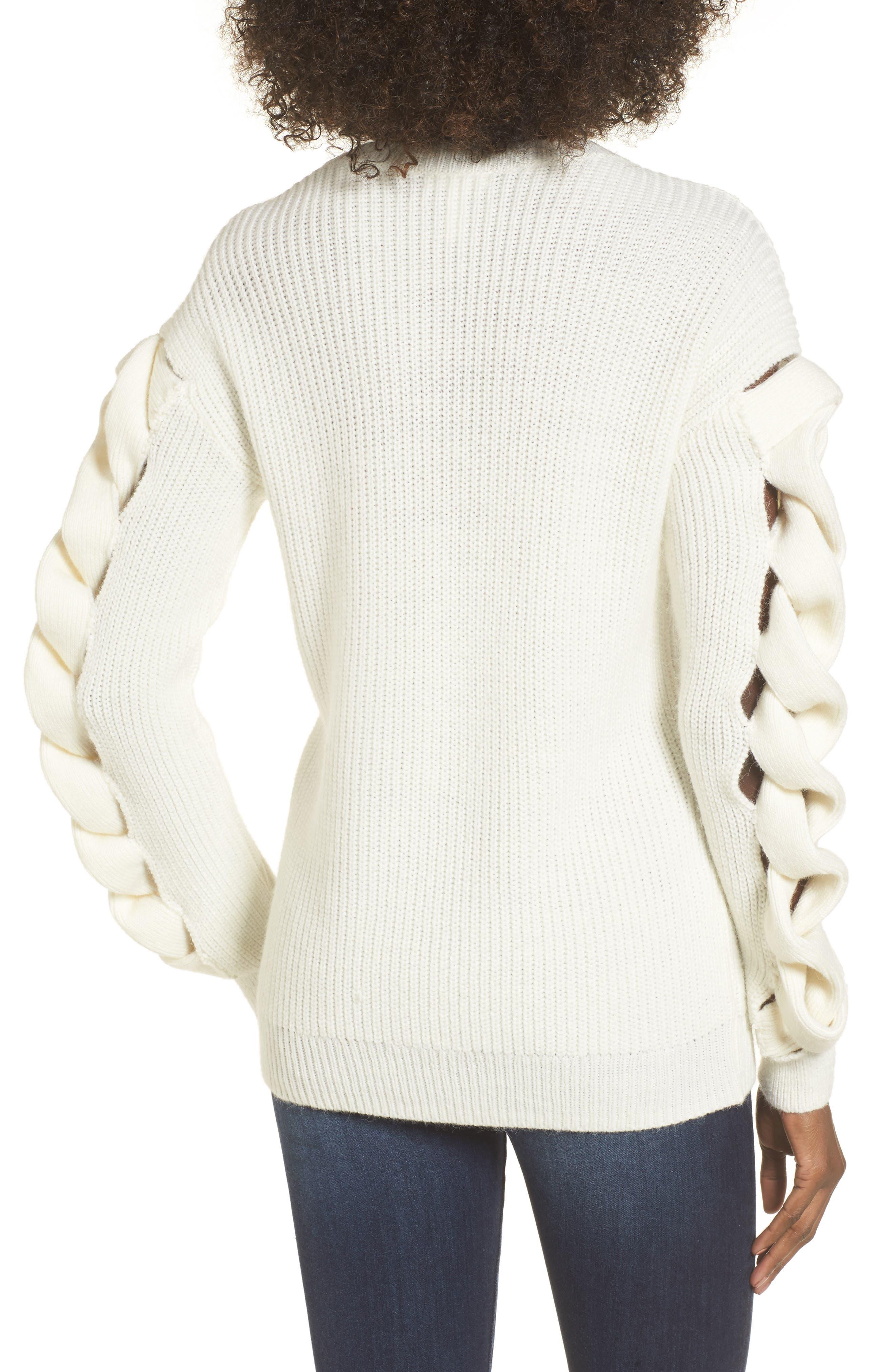 Twist Sleeve Sweater,                             Alternate thumbnail 6, color,