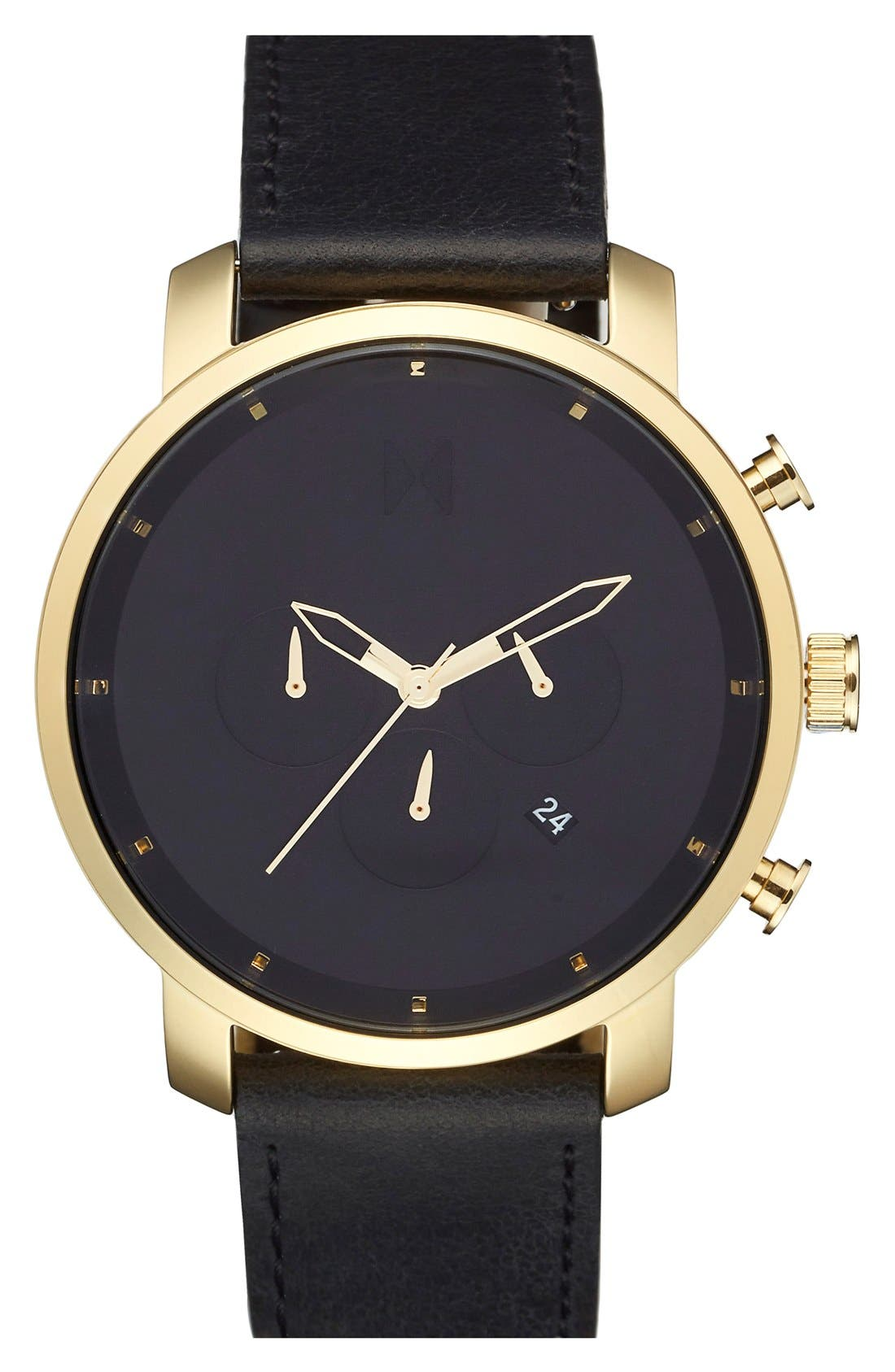 Chronograph Leather Strap Watch, 45mm,                             Main thumbnail 1, color,                             BLACK/ GOLD/ BLACK