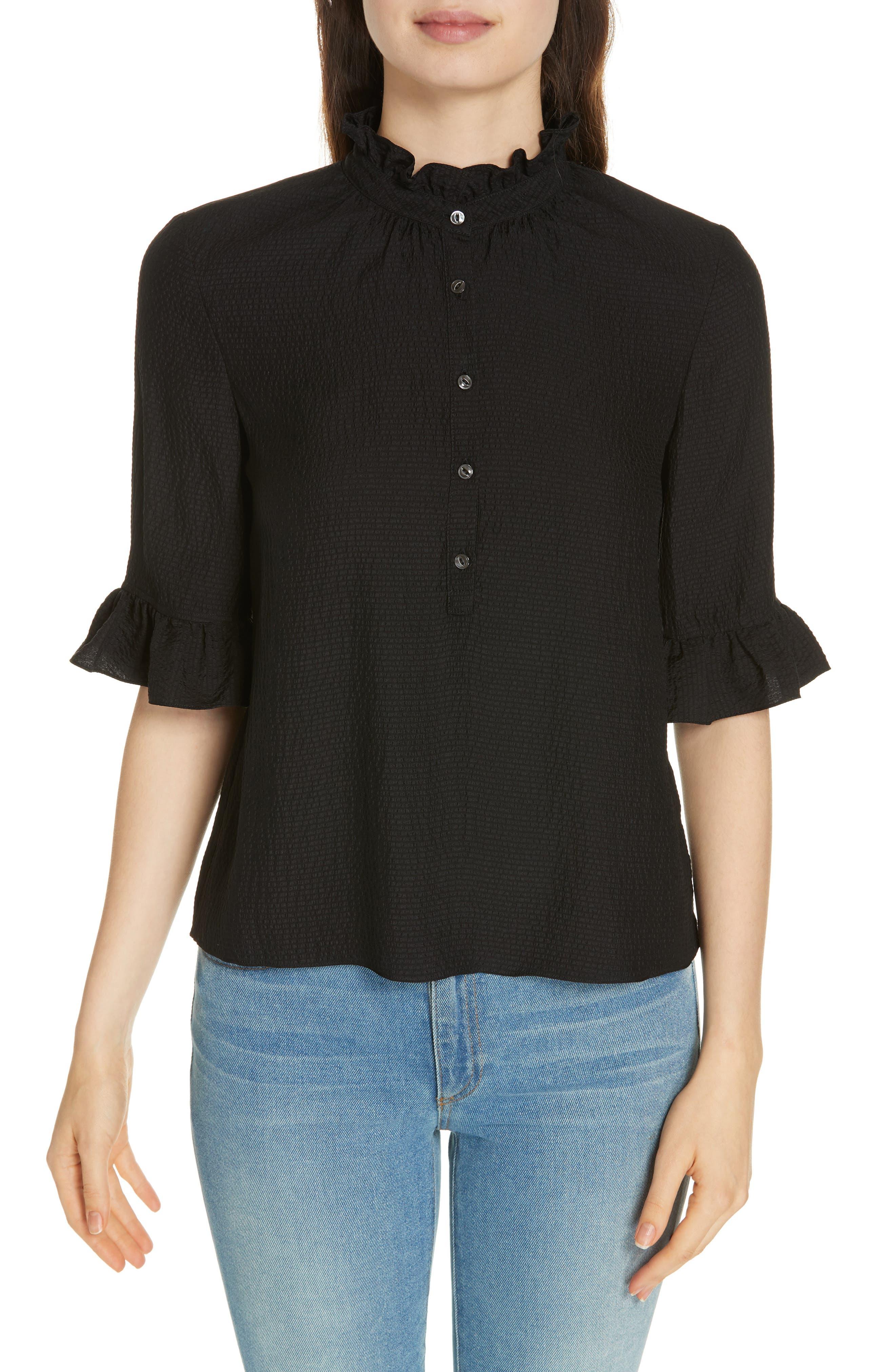 Silk Ruffle Top,                         Main,                         color, BLACK