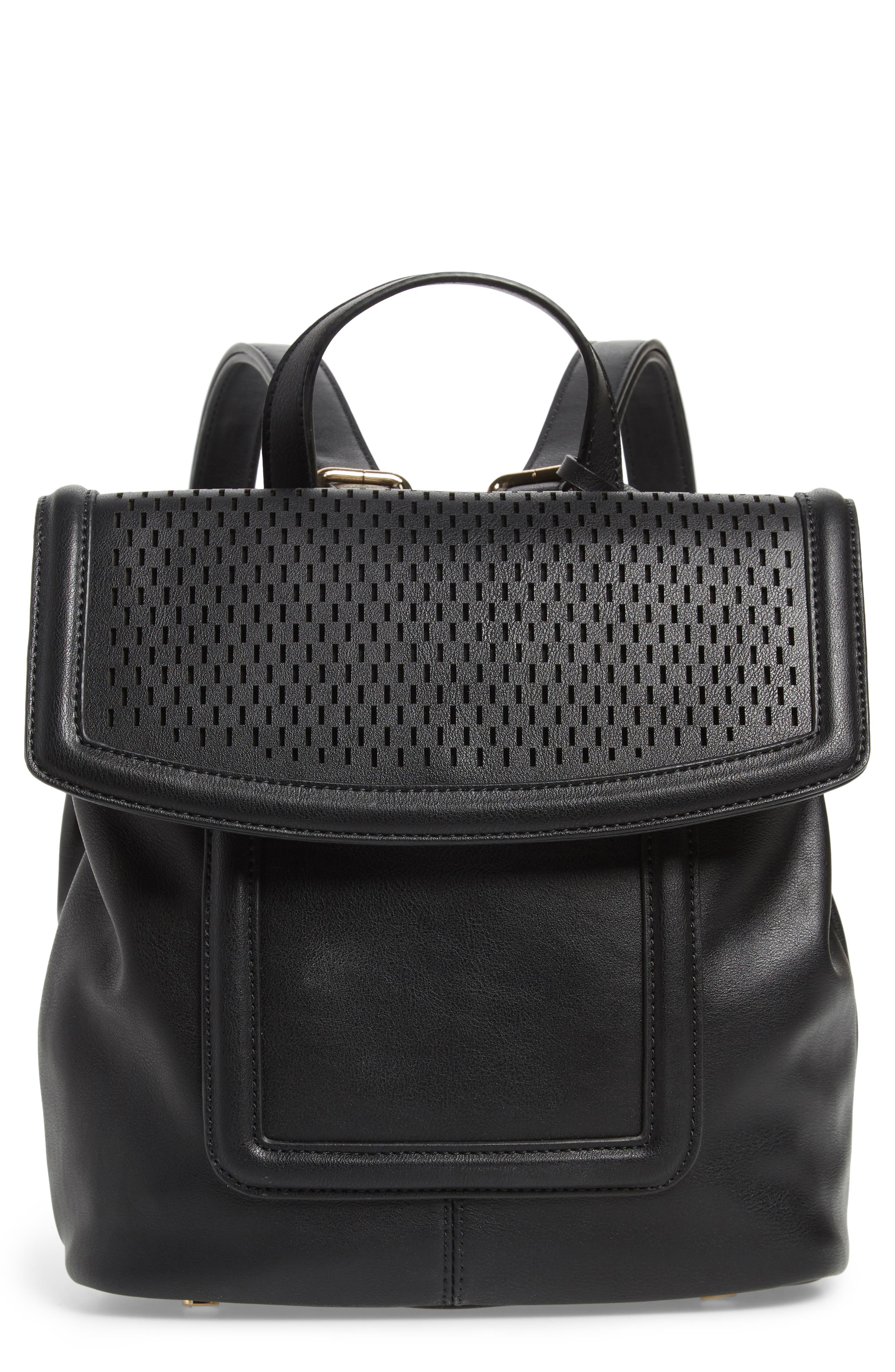 Faux Leather Backpack,                         Main,                         color, BLACK