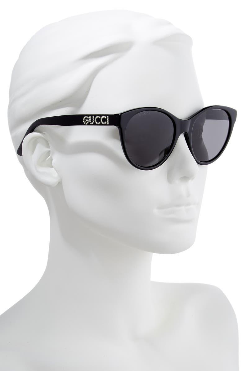 cb9ec0428 Shop Gucci 54Mm Round Cat Eye Sunglasses - Black/ Crystal/ Solid Grey
