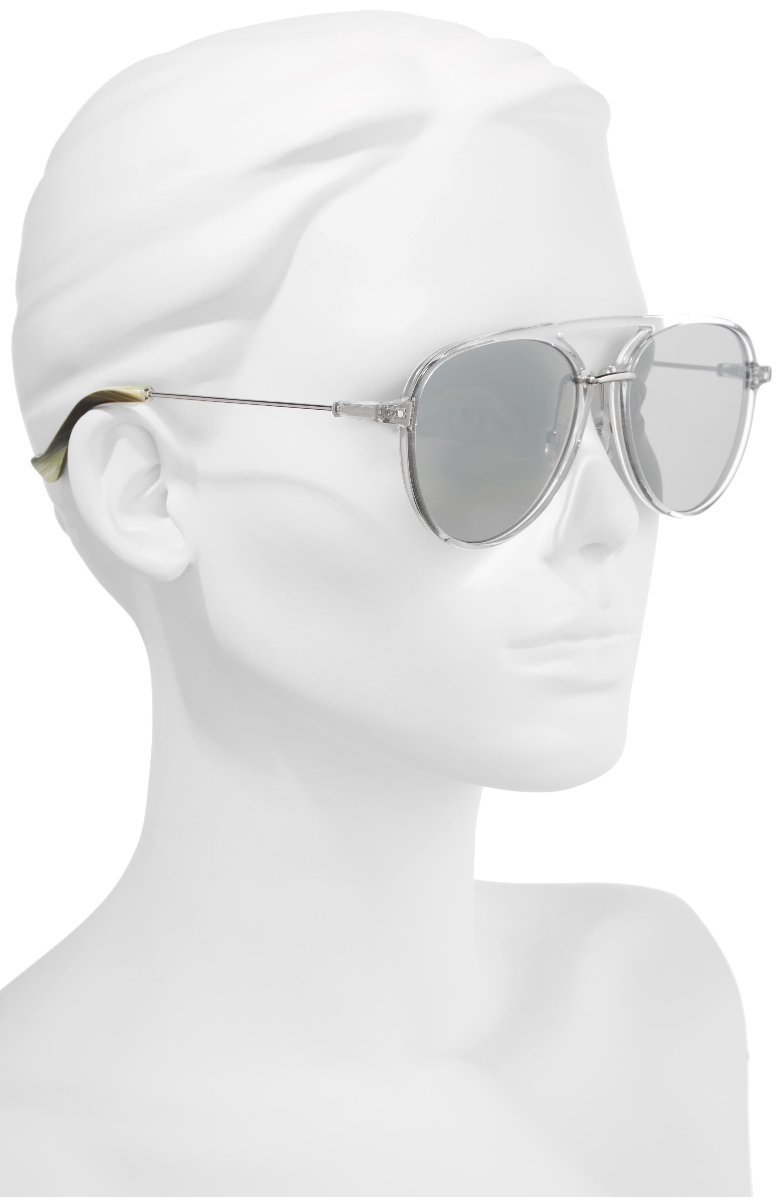 Praph 57mm Sunglasses,                             Alternate thumbnail 2, color,                             SILVER LENS/ CLEAR HARDWARE