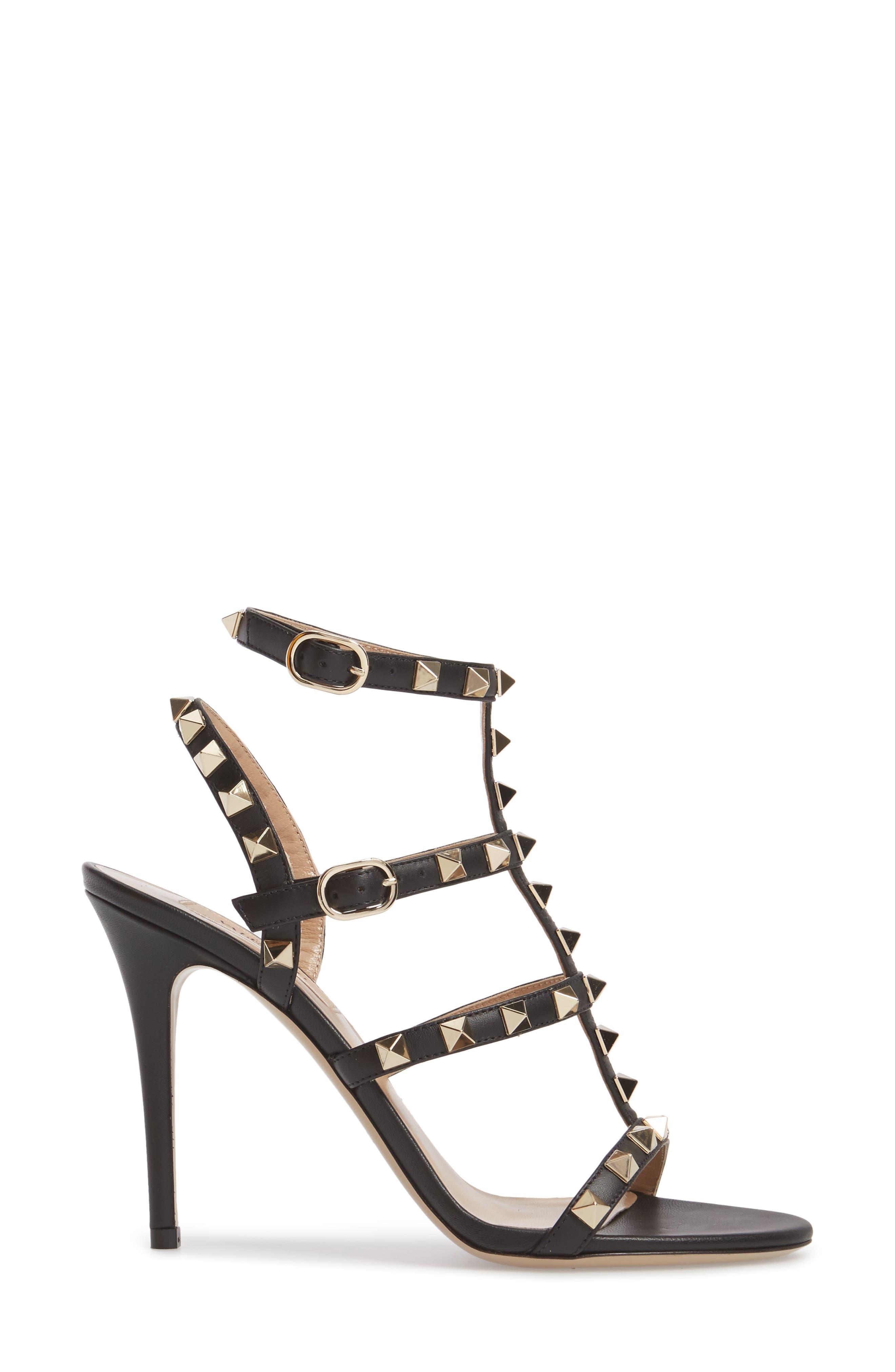 'Rockstud' Ankle Strap Sandal,                             Alternate thumbnail 3, color,                             001