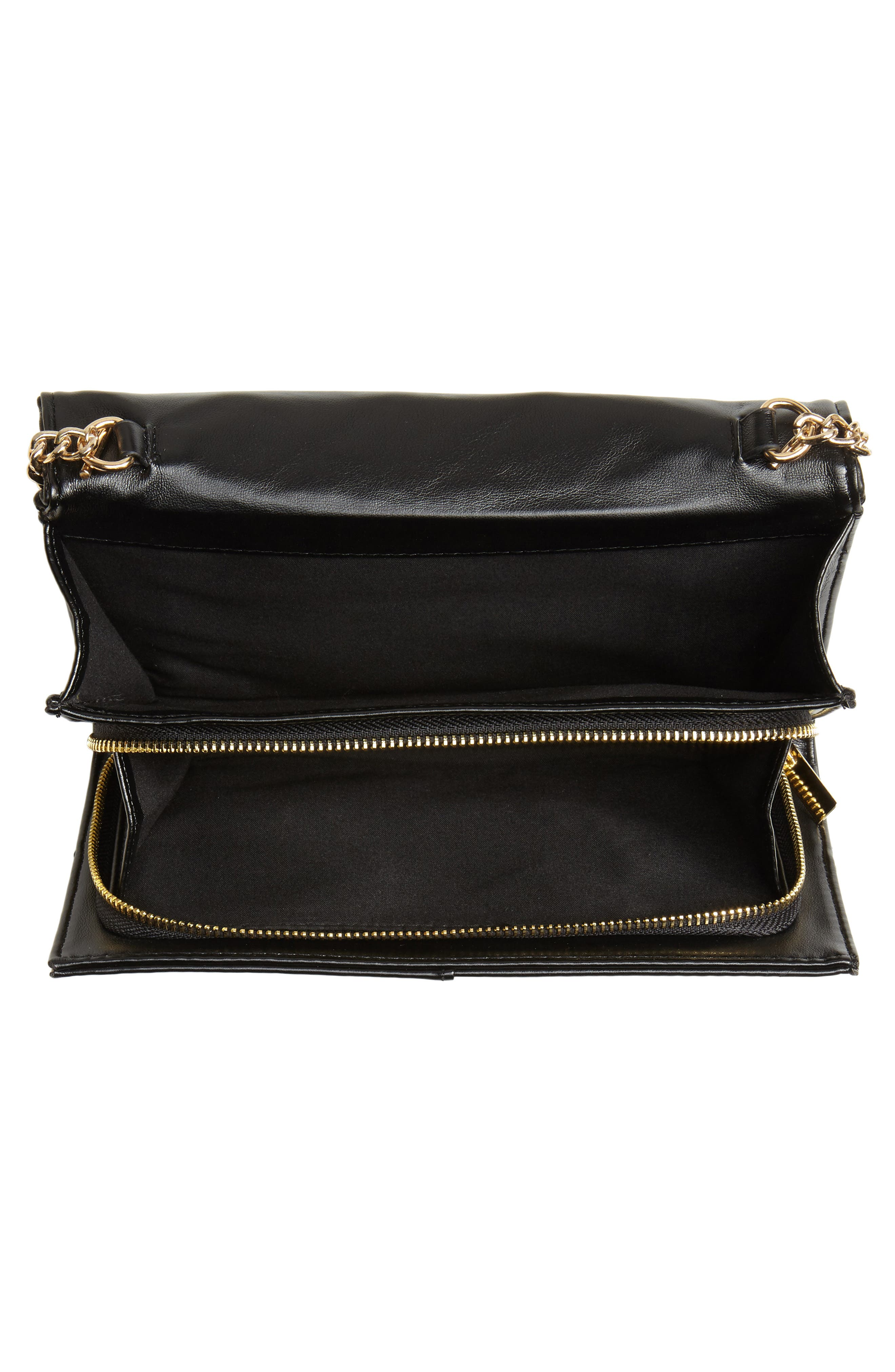 Mali + Lili Ciara Quilted Vegan Leather Convertible Clutch,                             Alternate thumbnail 4, color,                             BLACK