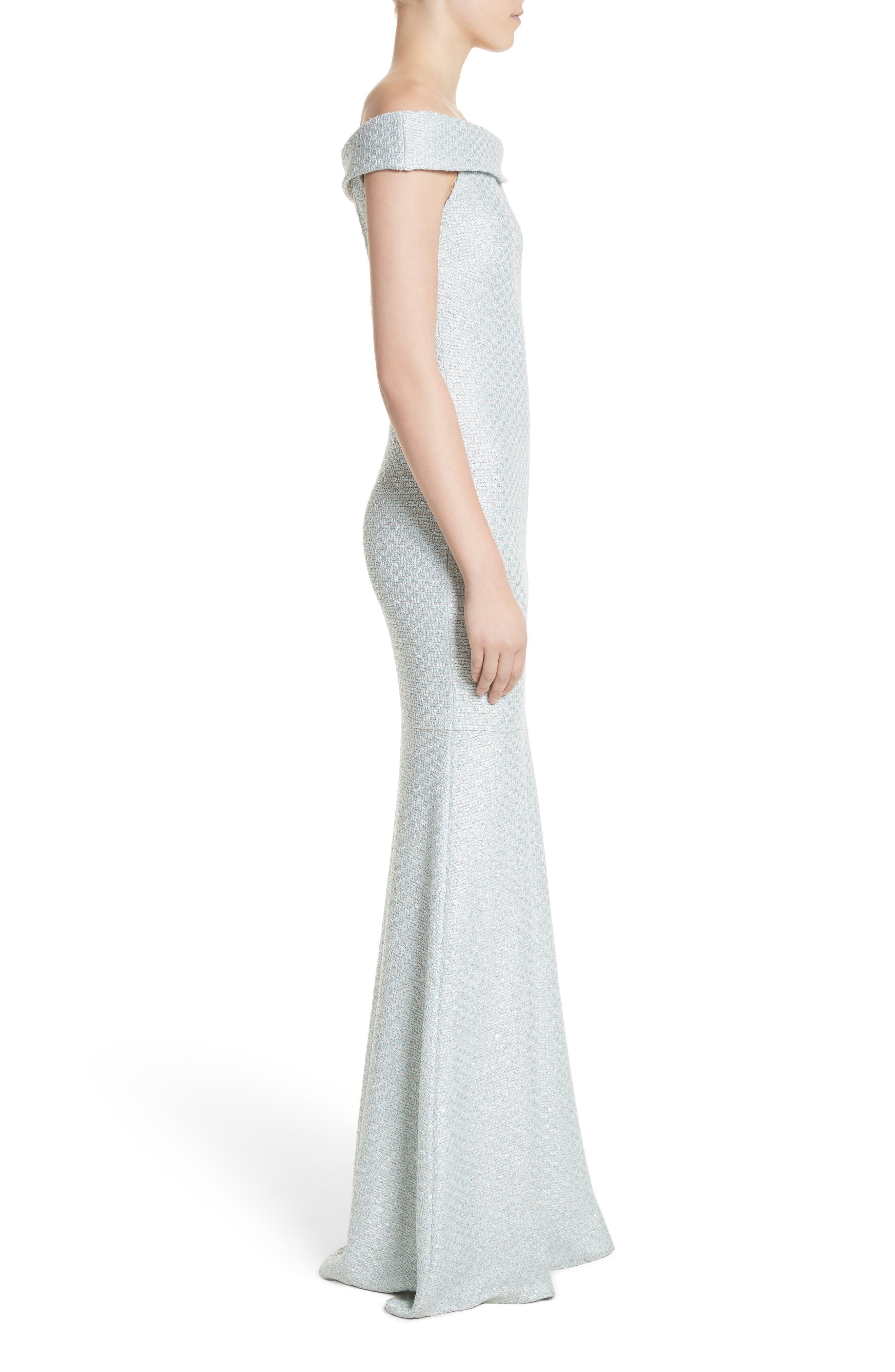 Hansh Sequin Knit Off the Shoulder Gown,                             Alternate thumbnail 3, color,                             MINT
