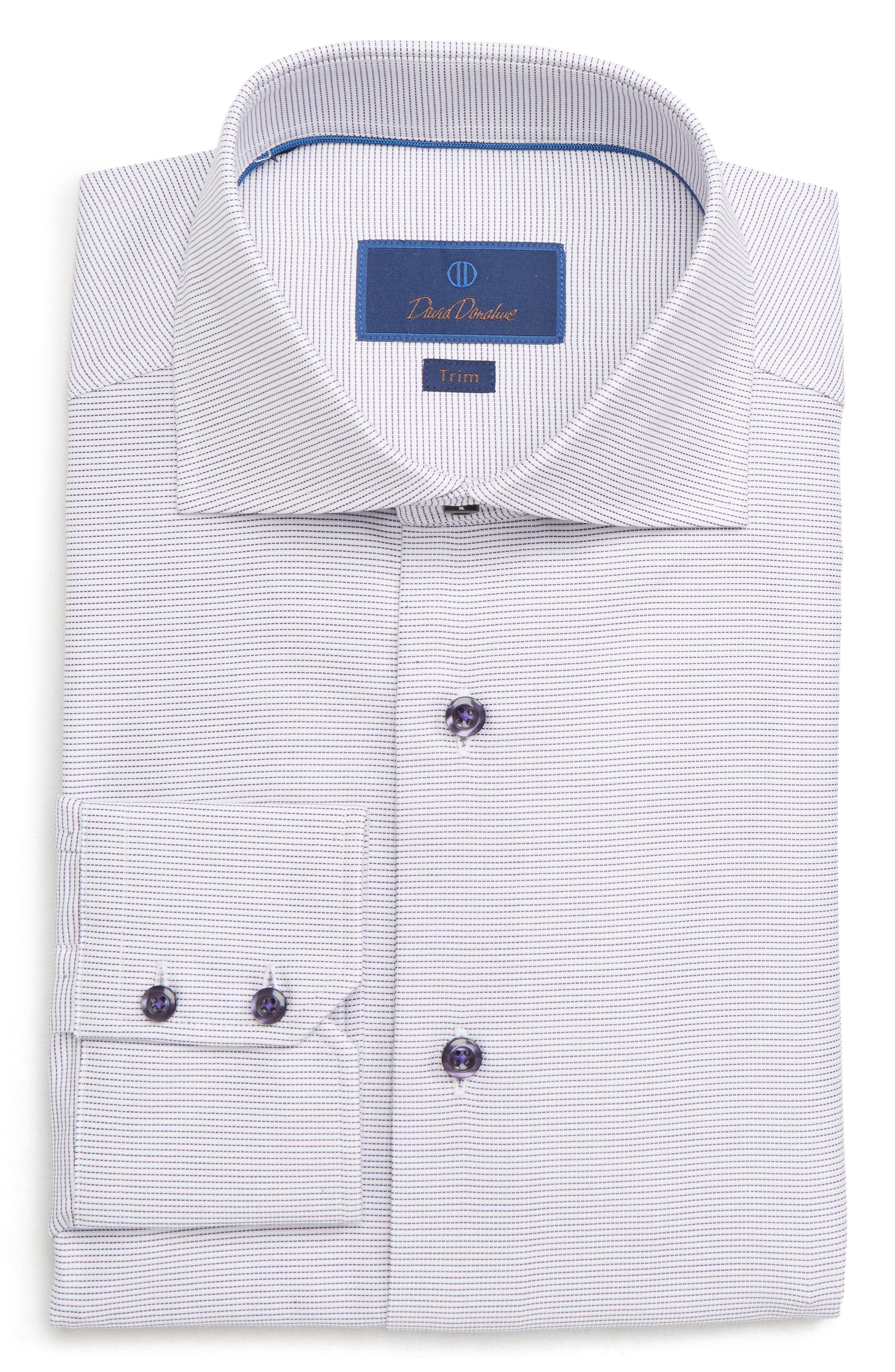 DAVID DONAHUE Men'S Trim-Fit Dobby Weave Dress Shirt in Lilac