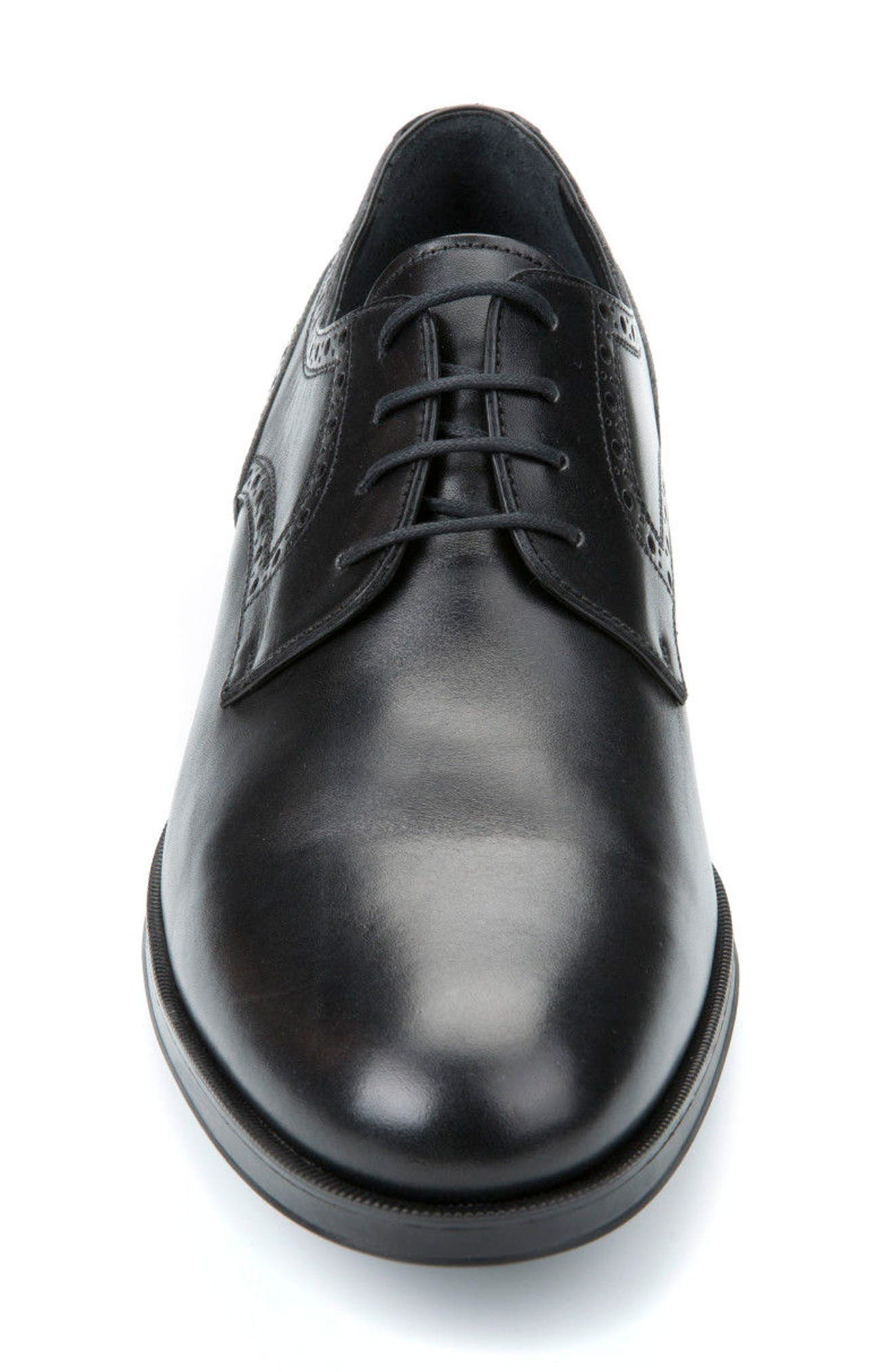 Hilstone 3 Plain Toe Derby,                             Alternate thumbnail 4, color,                             BLACK LEATHER