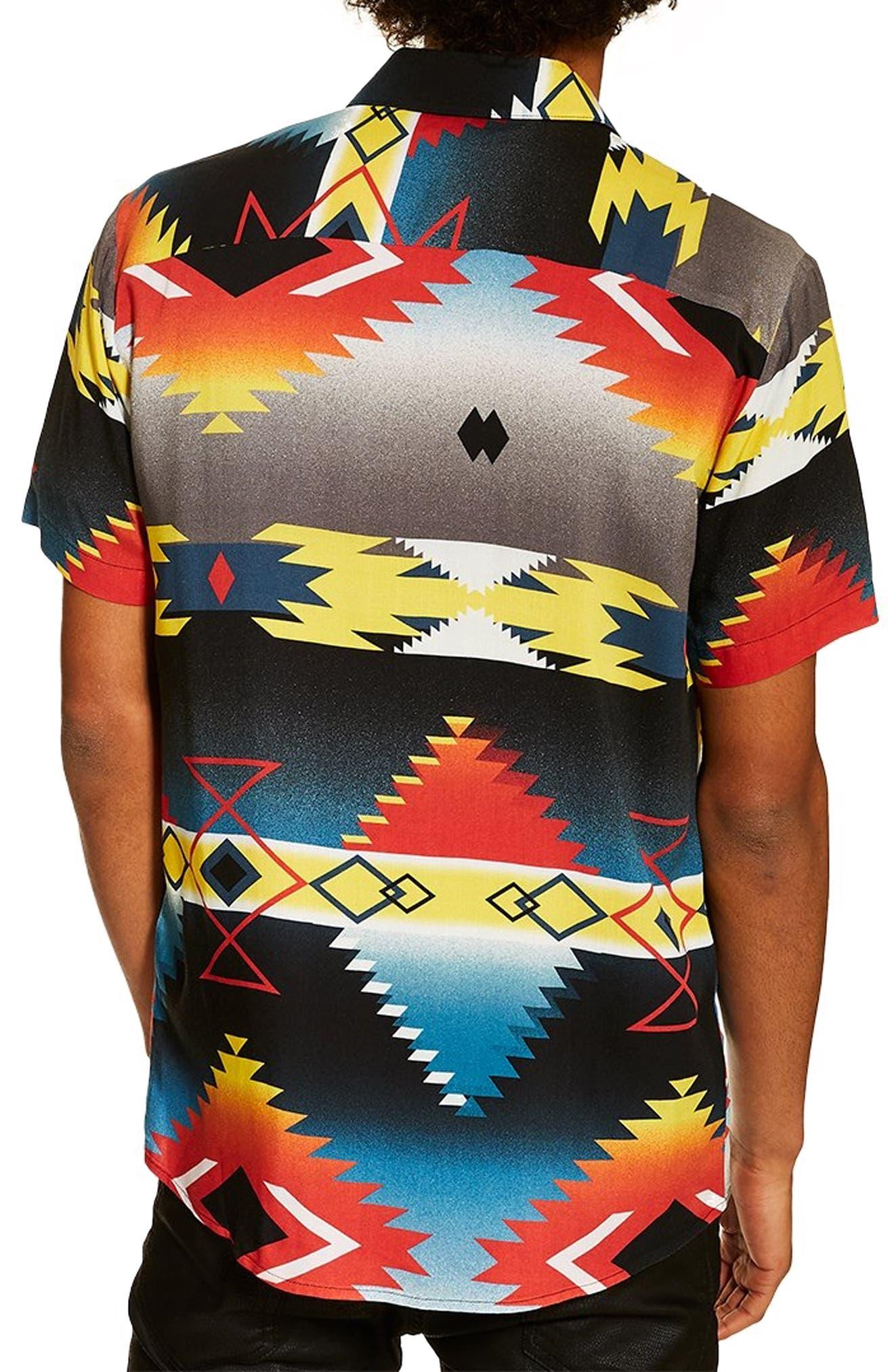 TOPMAN,                             Hyke Print Shirt,                             Alternate thumbnail 3, color,                             BLACK MULTI