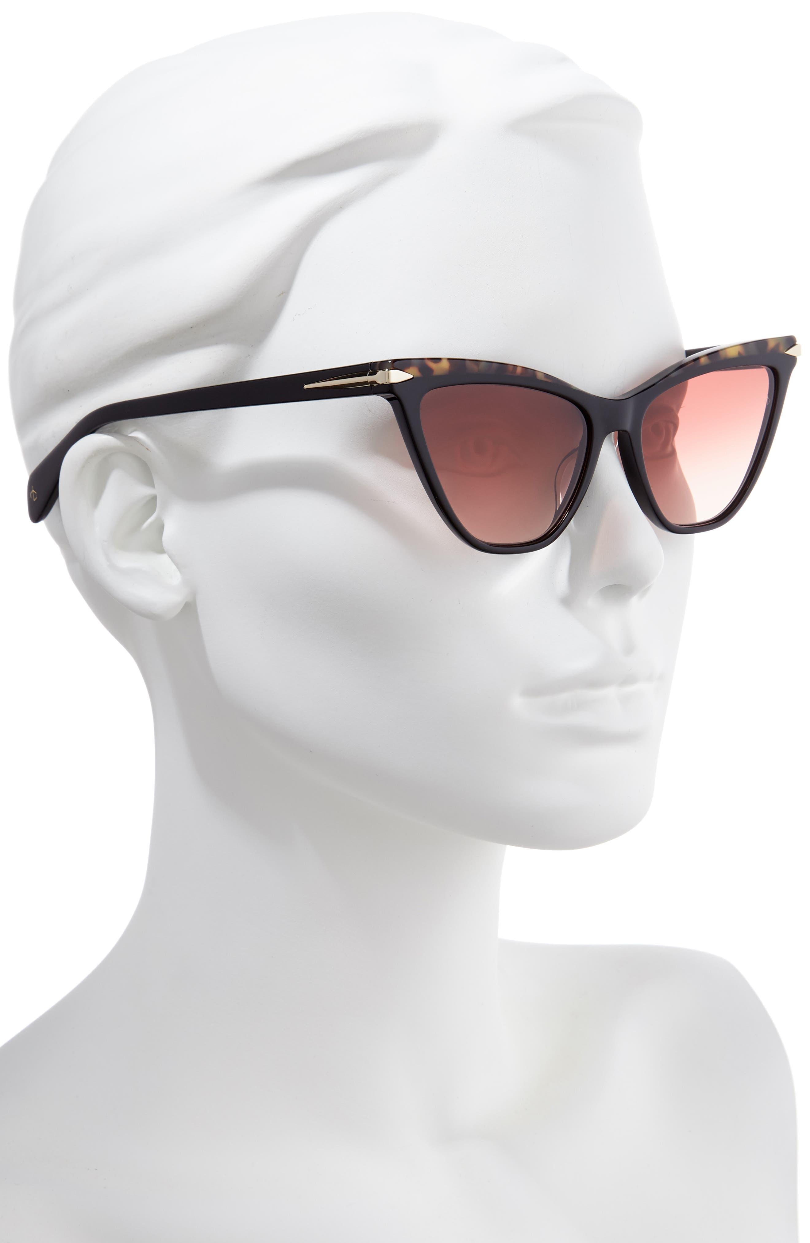 55mm Cat Eye Sunglasses,                             Alternate thumbnail 2, color,                             BLACK