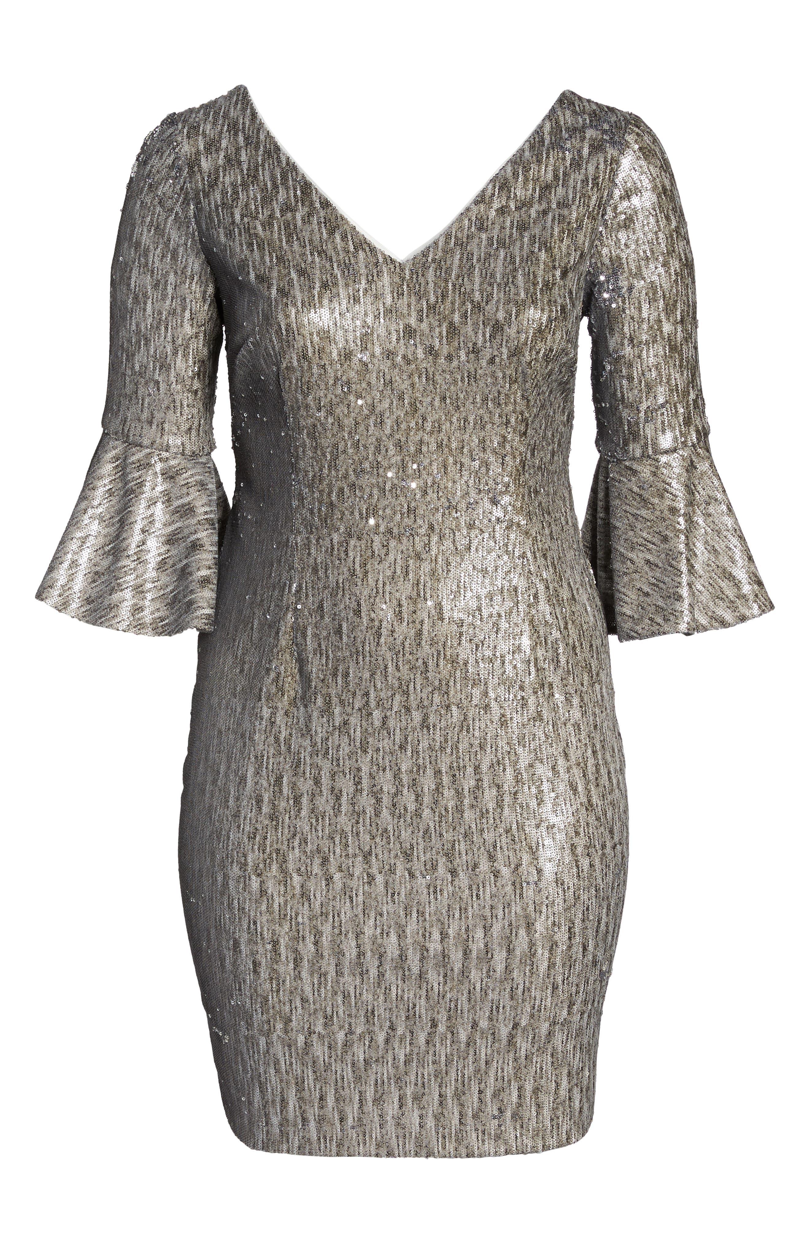 Bell Sleeve Sequin Sheath Dress,                             Alternate thumbnail 6, color,                             080