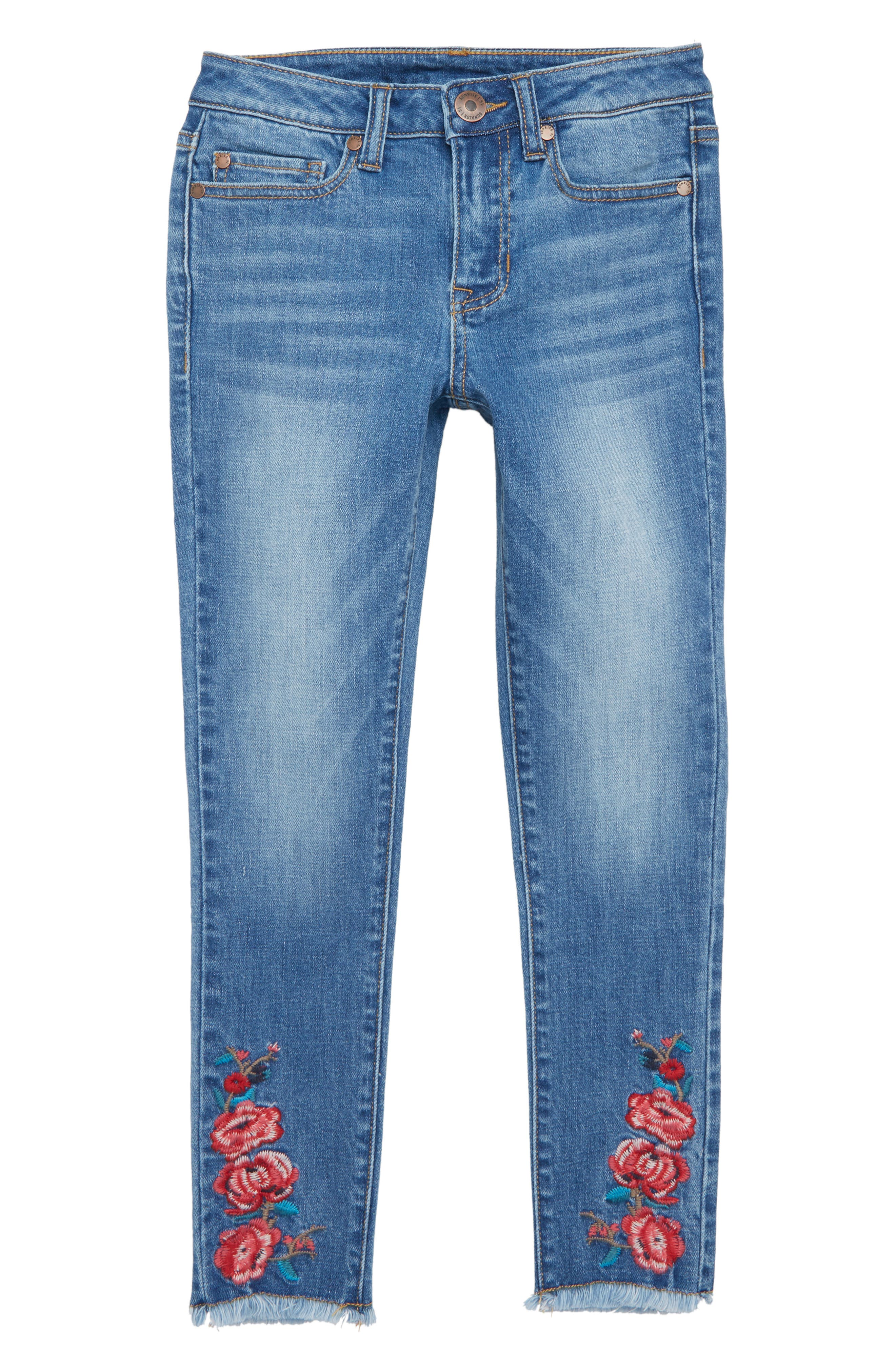 Embroidered Fray Hem Skinny Jeans,                             Main thumbnail 1, color,