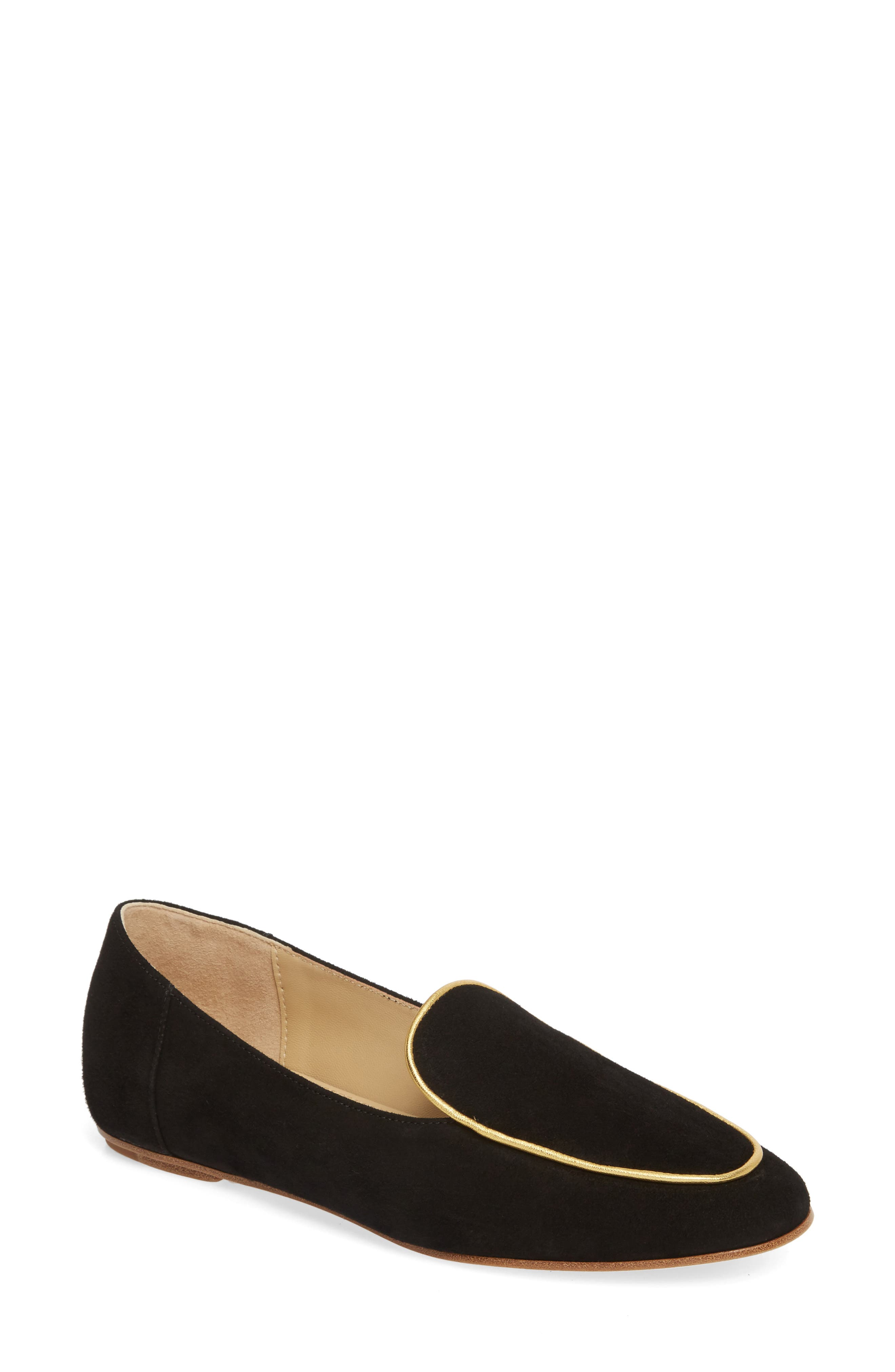 Camille Loafer,                             Main thumbnail 1, color,                             BLACK/ GOLD SUEDE