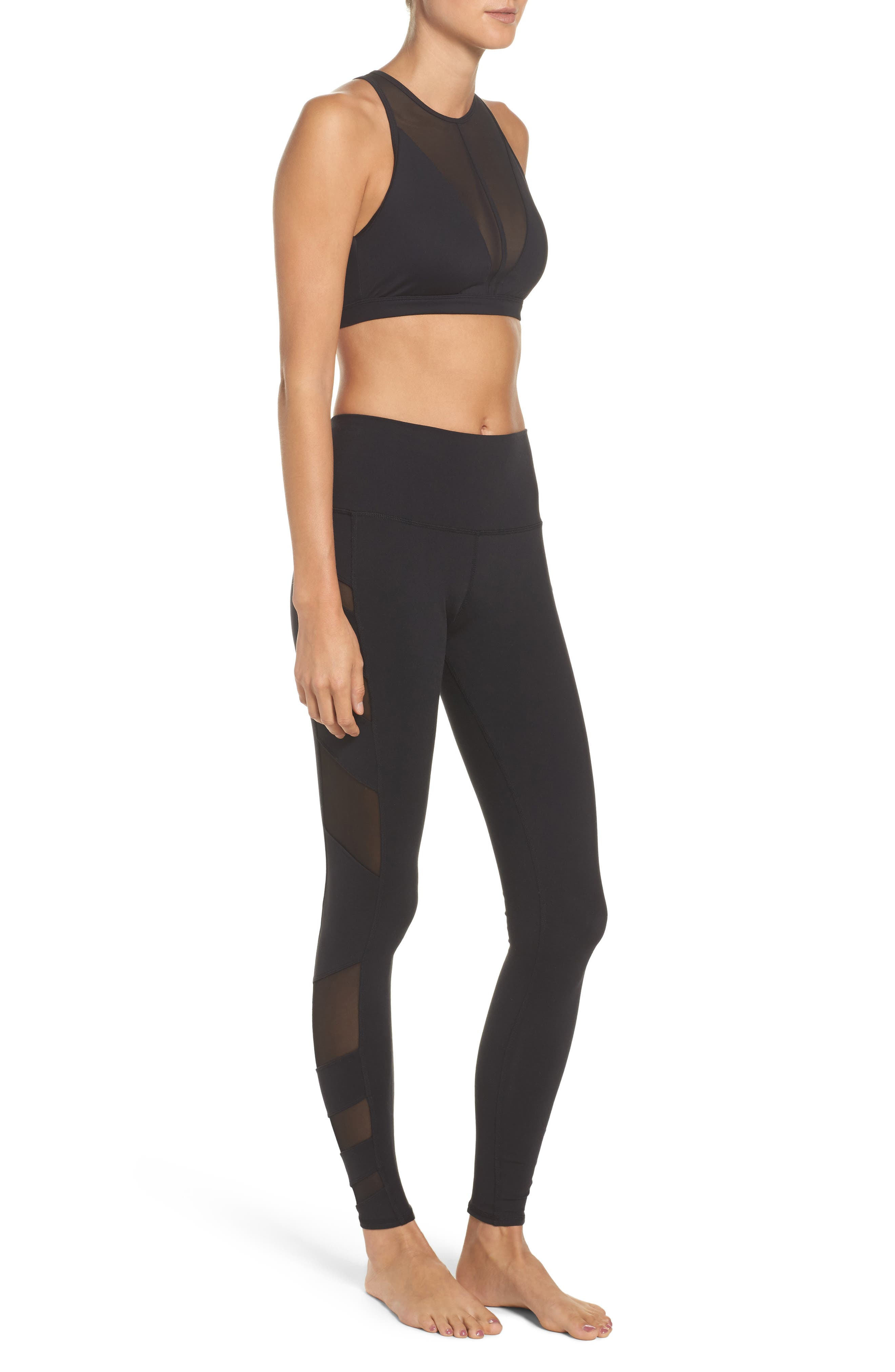 Block High Waist Mesh Inset Leggings,                             Alternate thumbnail 10, color,                             001