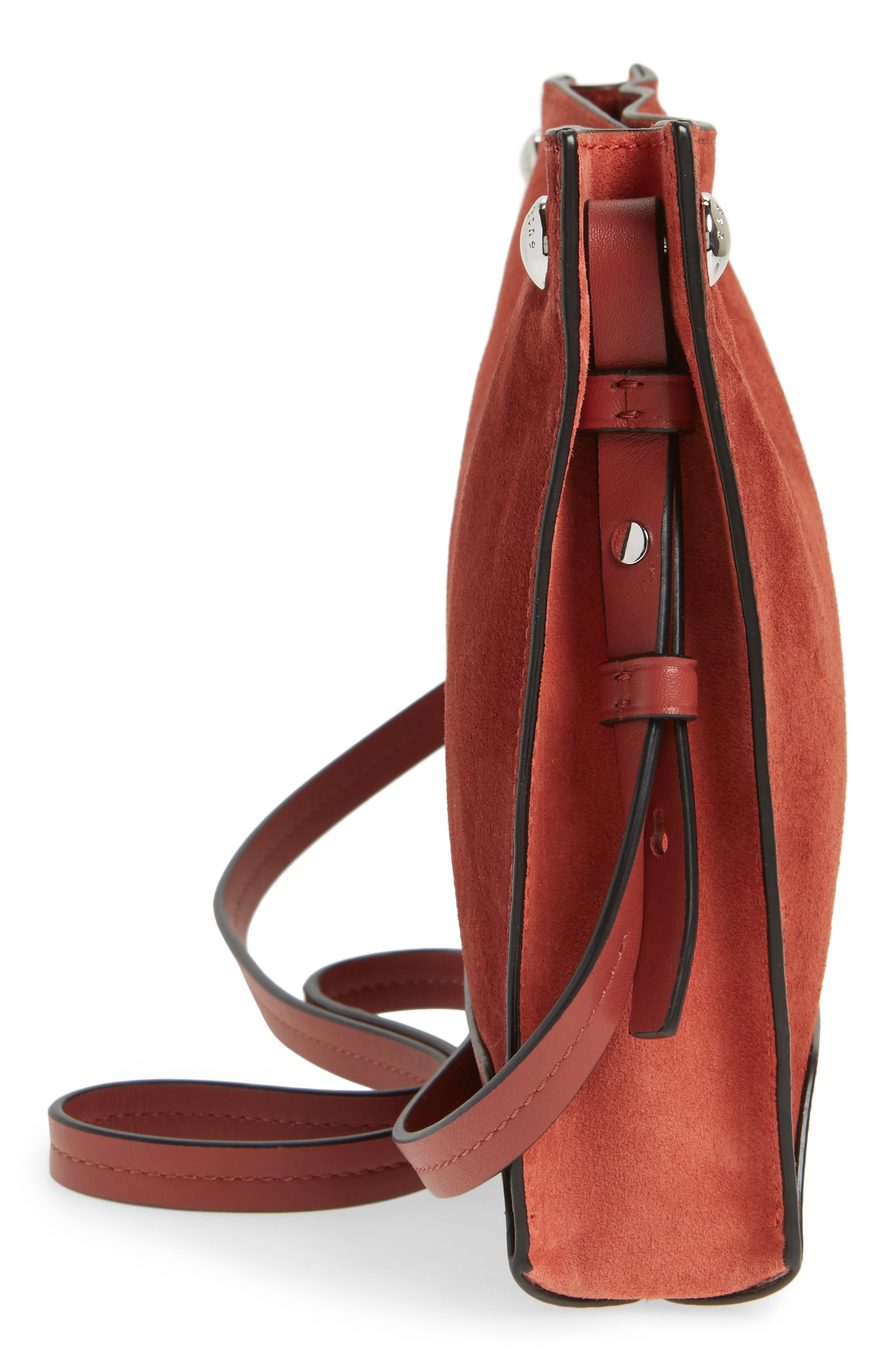 Compass Suede Crossbody Bag,                             Alternate thumbnail 5, color,                             629