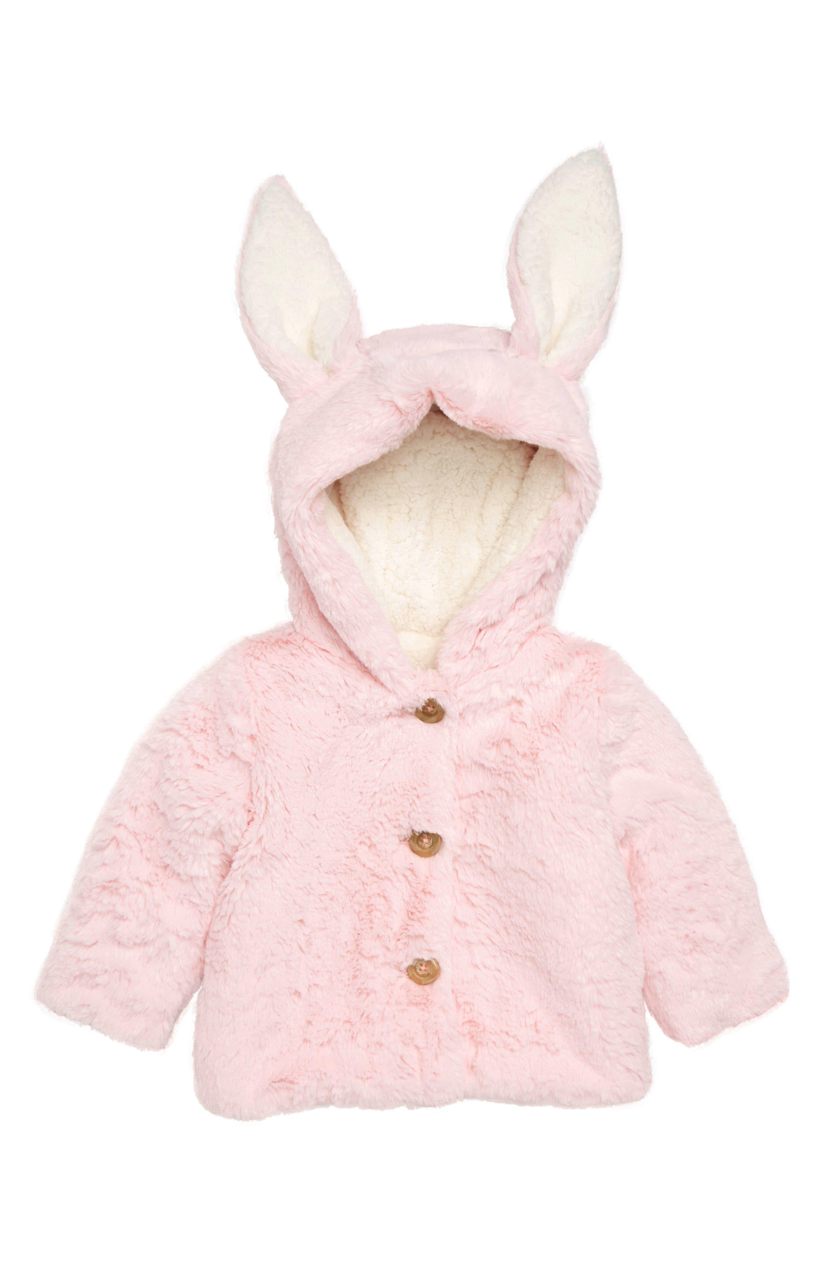 Fluffy Bunny Jacket,                             Main thumbnail 1, color,                             PINK BABY