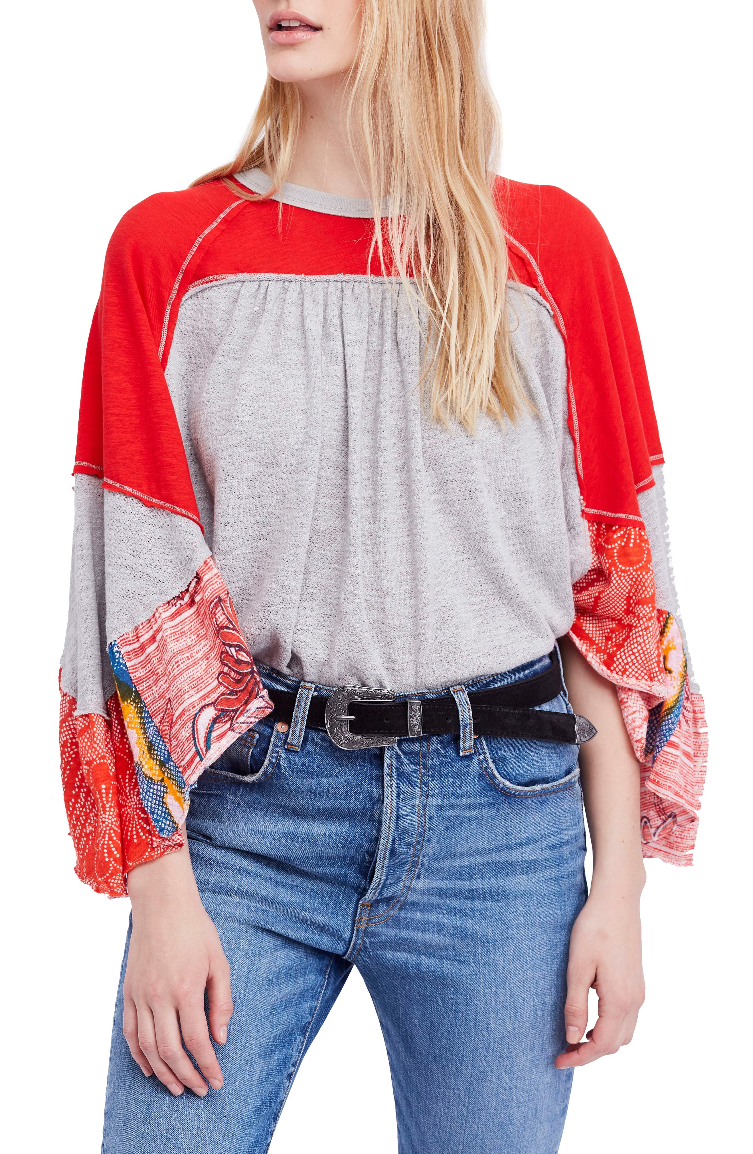 We The Free By Free People Friday Fever Pattern Mix Top, Grey