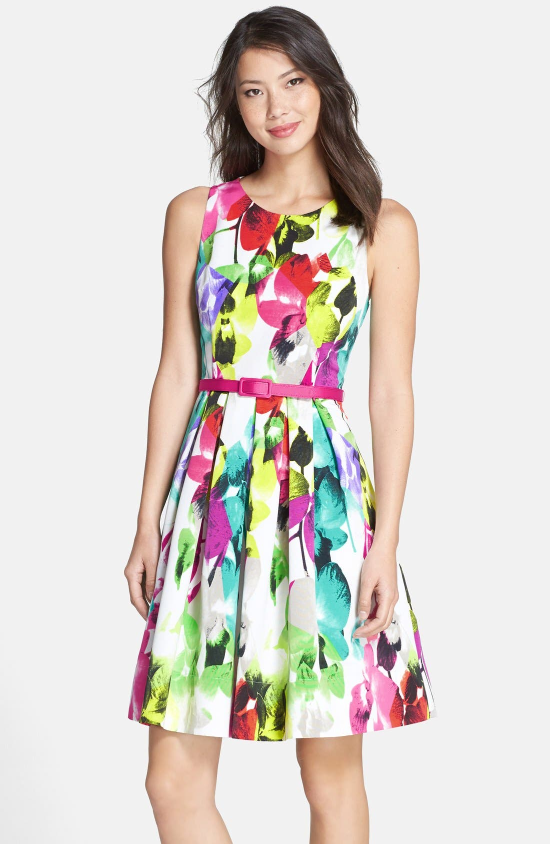 Belted Print Faille Fit & Flare Dress, Main, color, 650